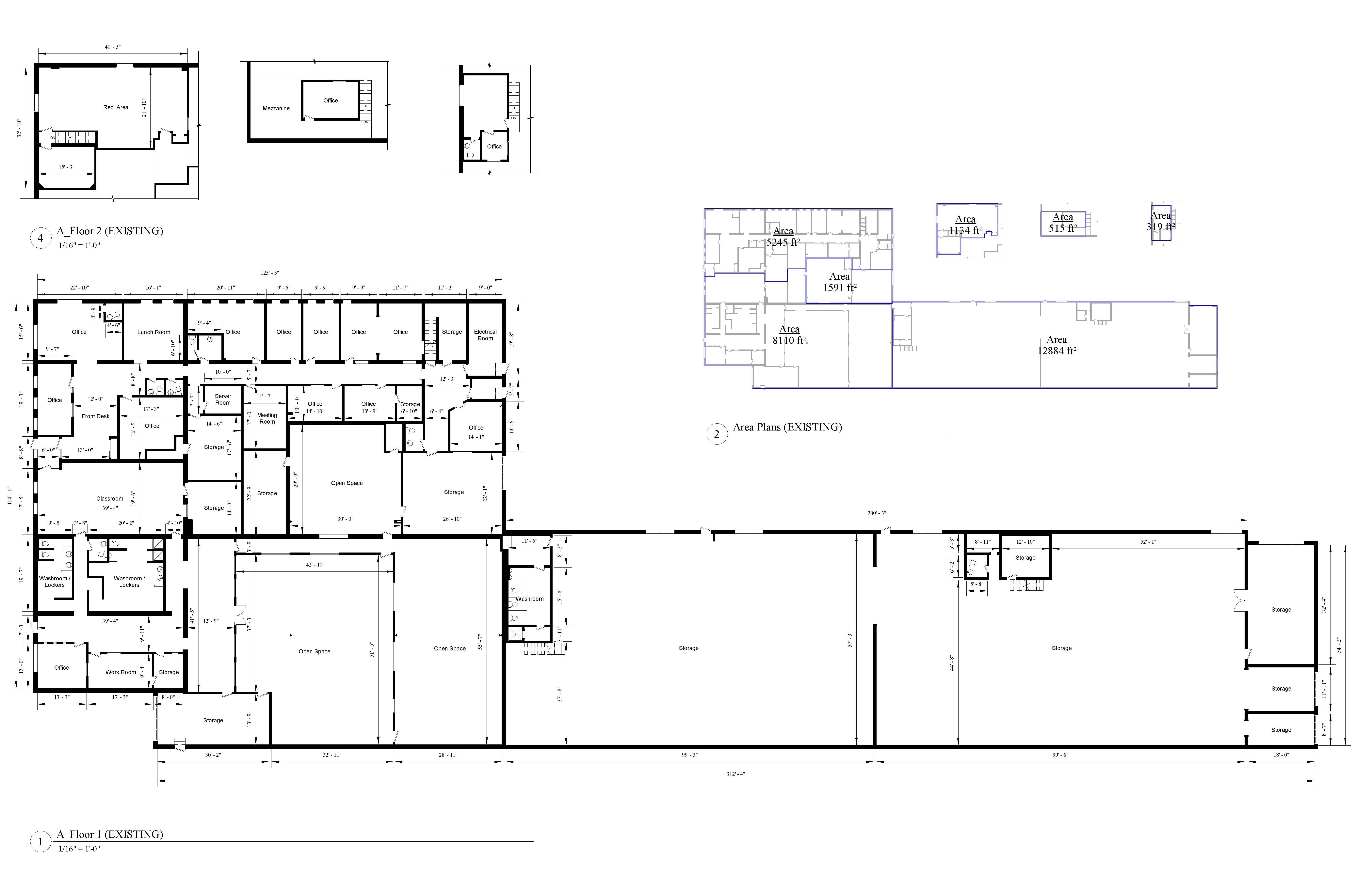 an AutoCad drawing of the floor plan and the Area Analysis plan for an over thirty thousand square foot industrial building.
