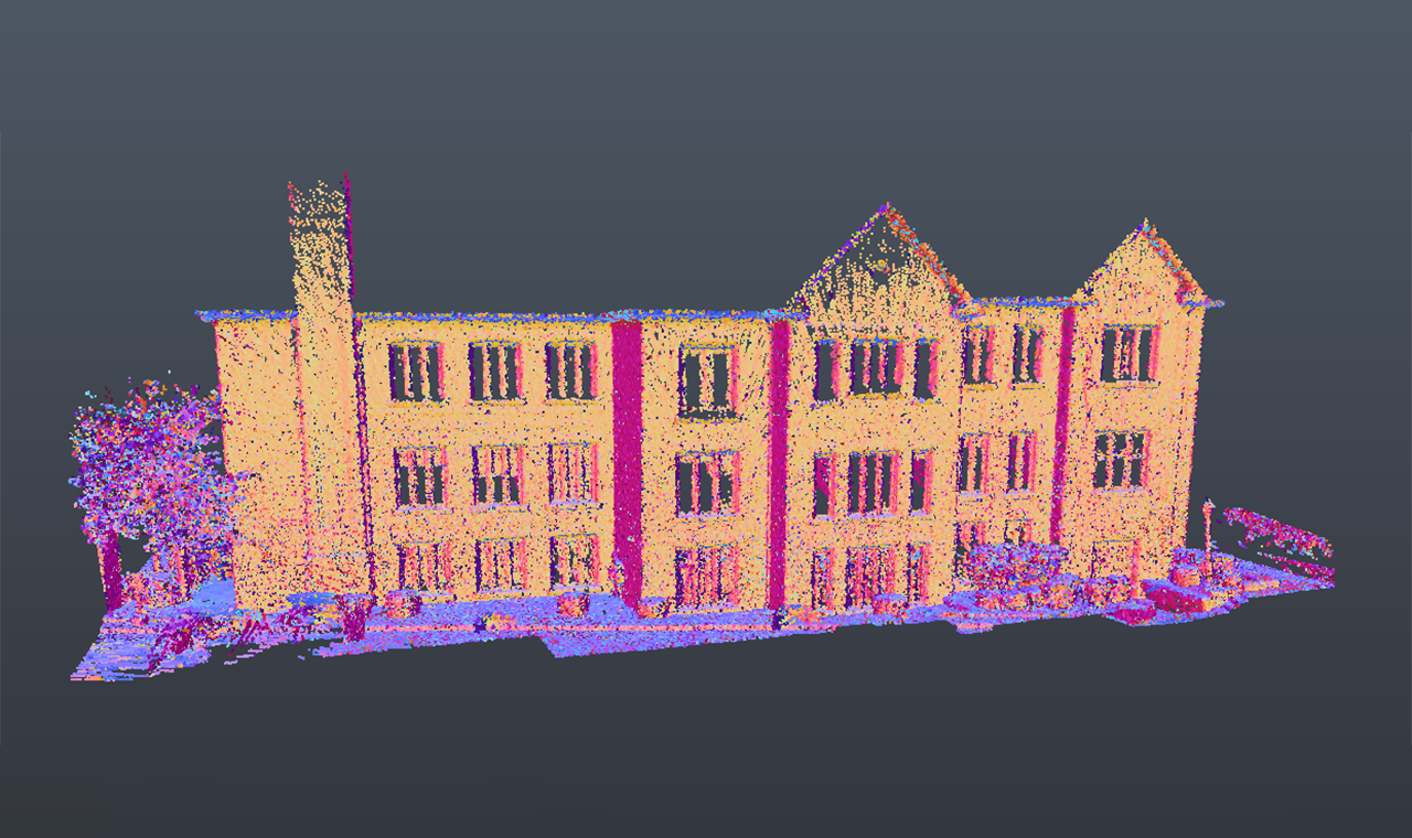 a point cloud 3D model of the front view of a three level commercial building.