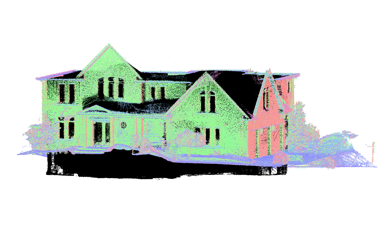 a point cloud 3D model of the rear view of a two level residential house.