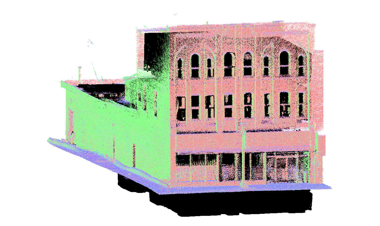 a point cloud 3D model of a three level commercial building.