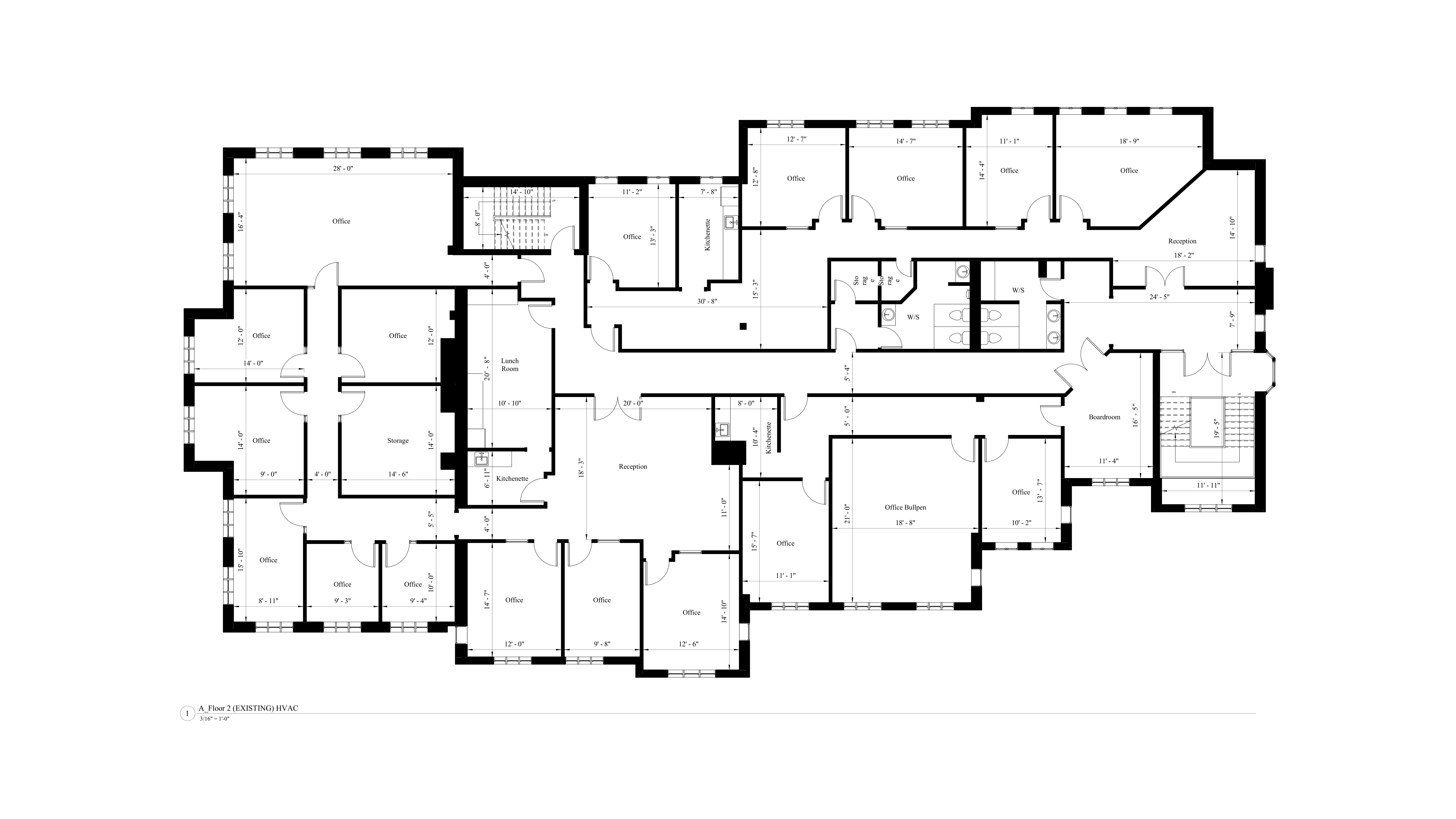 AutoCad drawing of the existing floor plan model for the second level of the commercial building.