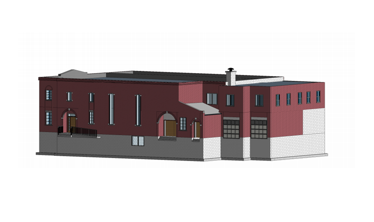 A 3D Scan to BIM elevation model of the side view of a two level industrial building.