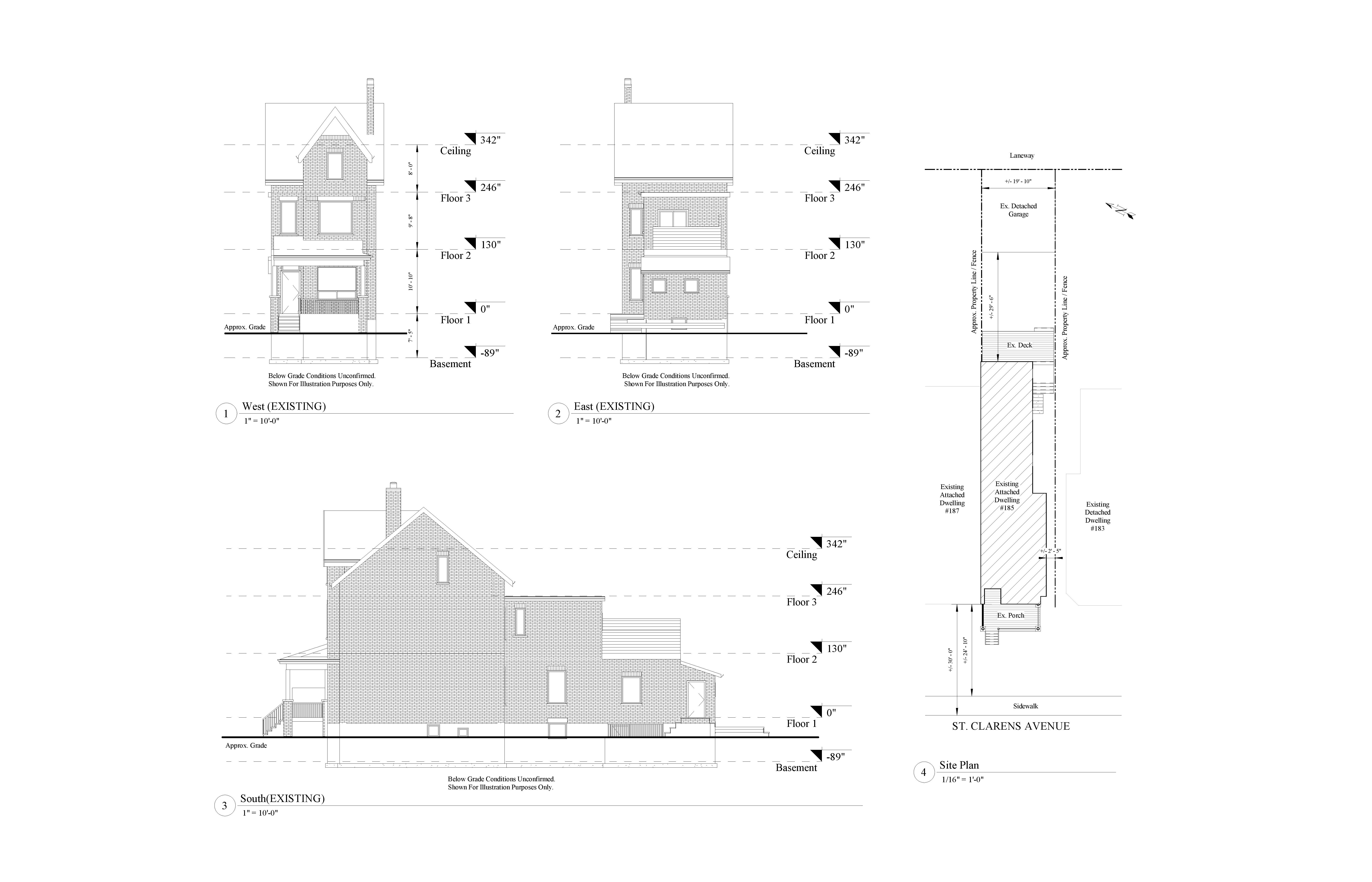 AutoCad drawings of 2D elevation models of the front, rear and side view of a three level residential house including the basement.