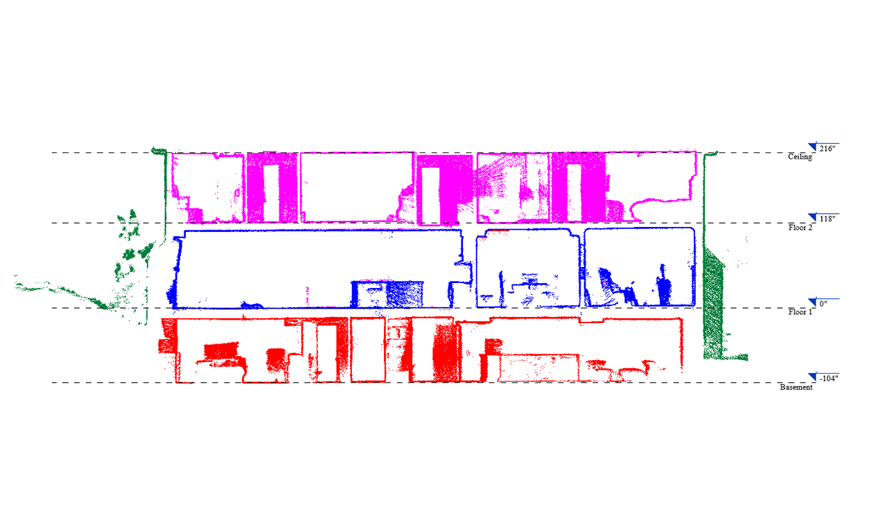 a point cloud 3D elevation to a two level residential house with a basement.