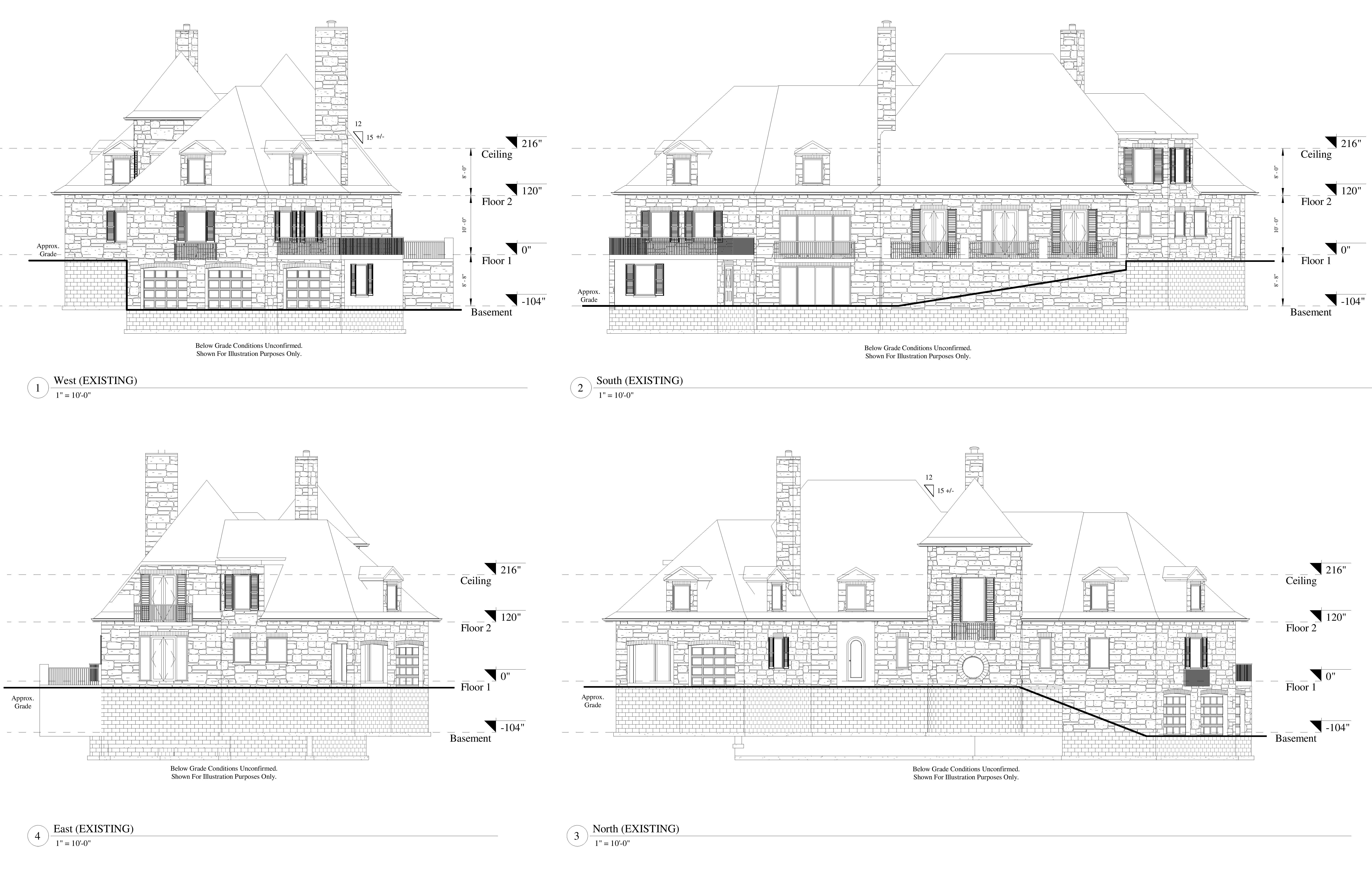 AutoCad drawings of 2D elevations for a two level residential house including the basement from the north, south, east and west viewpoints.
