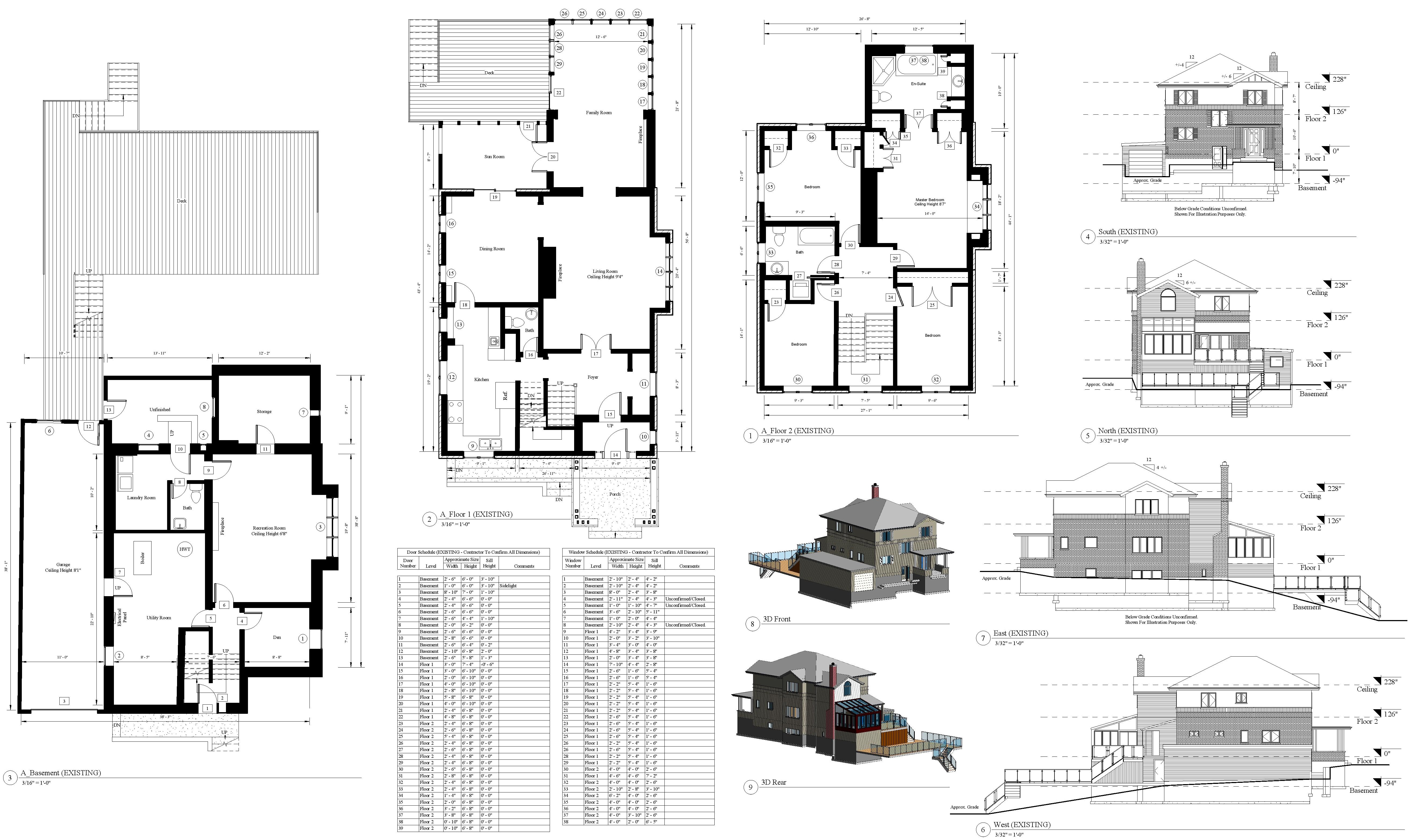 AutoCad drawing plan that consists of the existing floor plans, 2D elevations and supporting data to a two level residential house with a basement.
