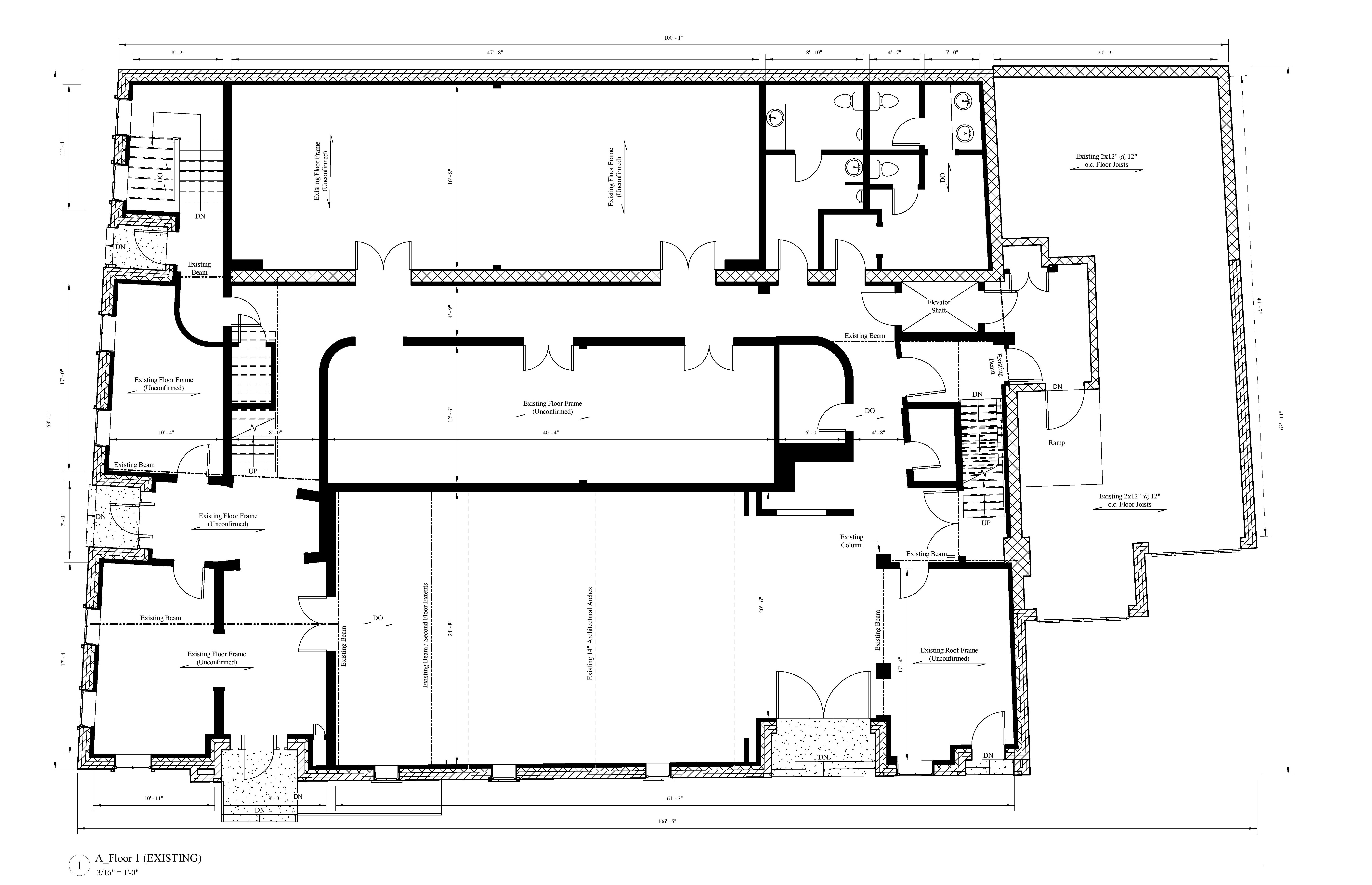 of an existing floor plan to a large industrial building.