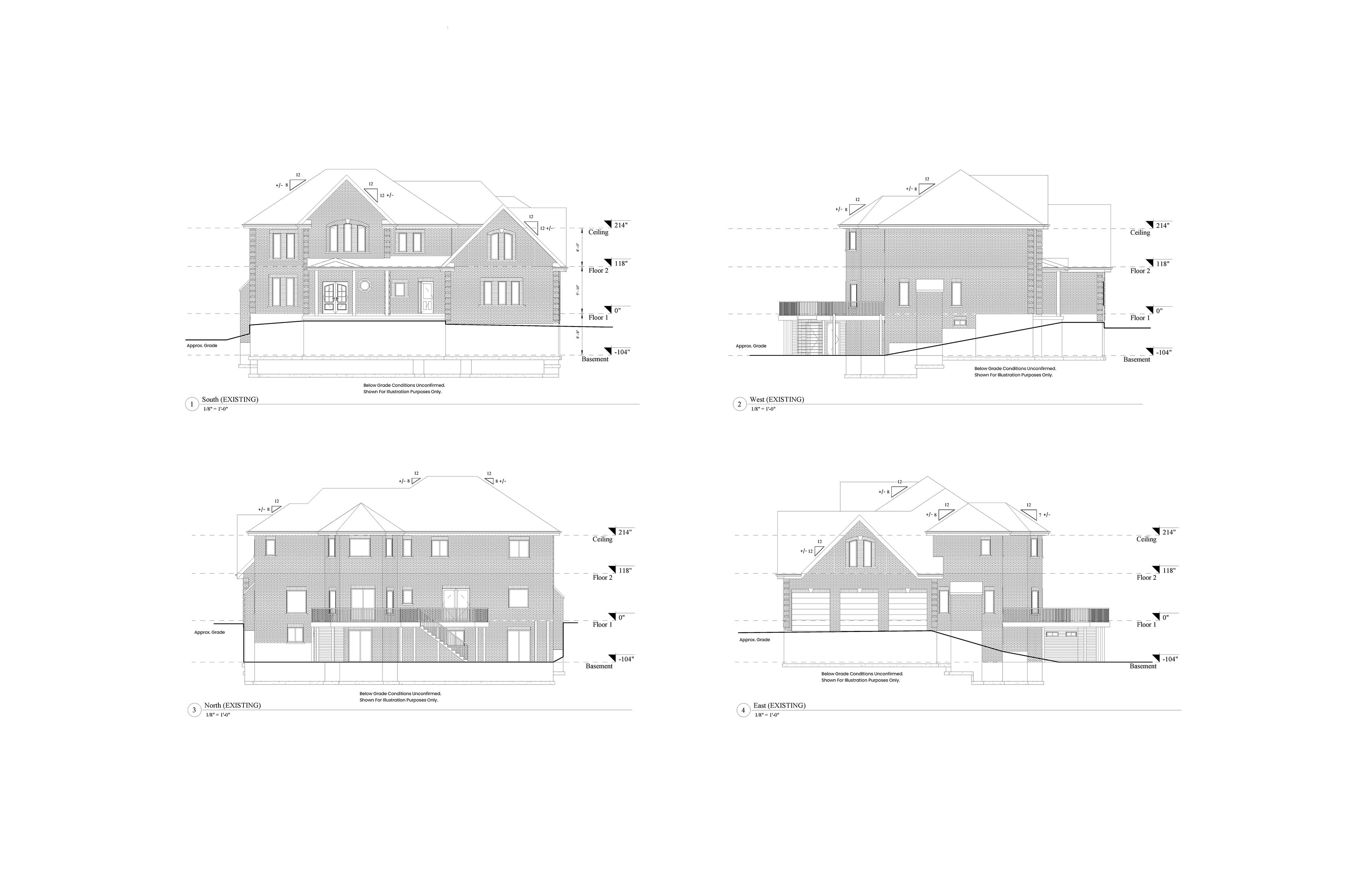 AutoCad 2D elevation drawings of the south, north, east, and west view of the house.