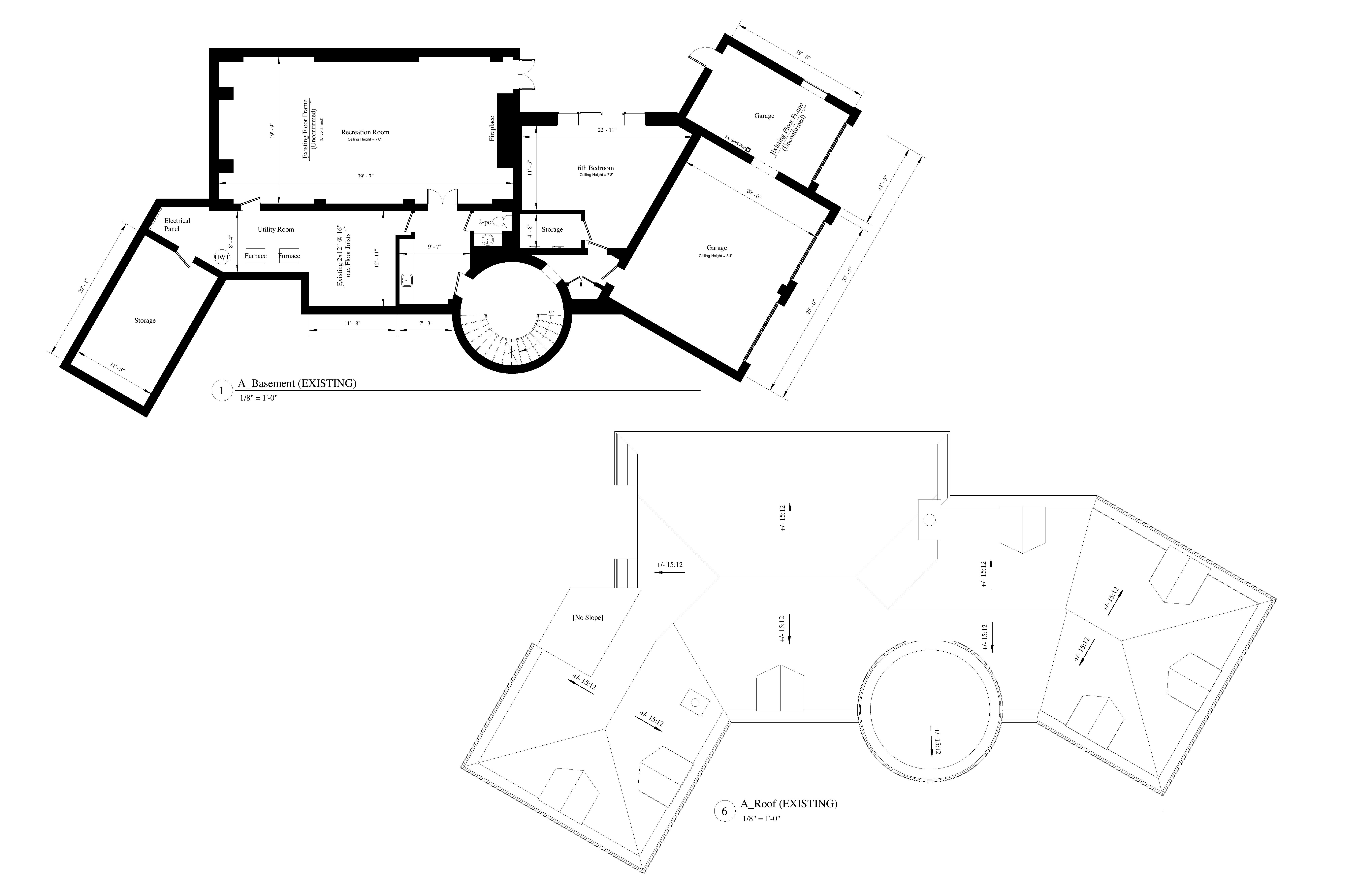AutoCad drawings of existing floor plans and roof plans for a residential house.