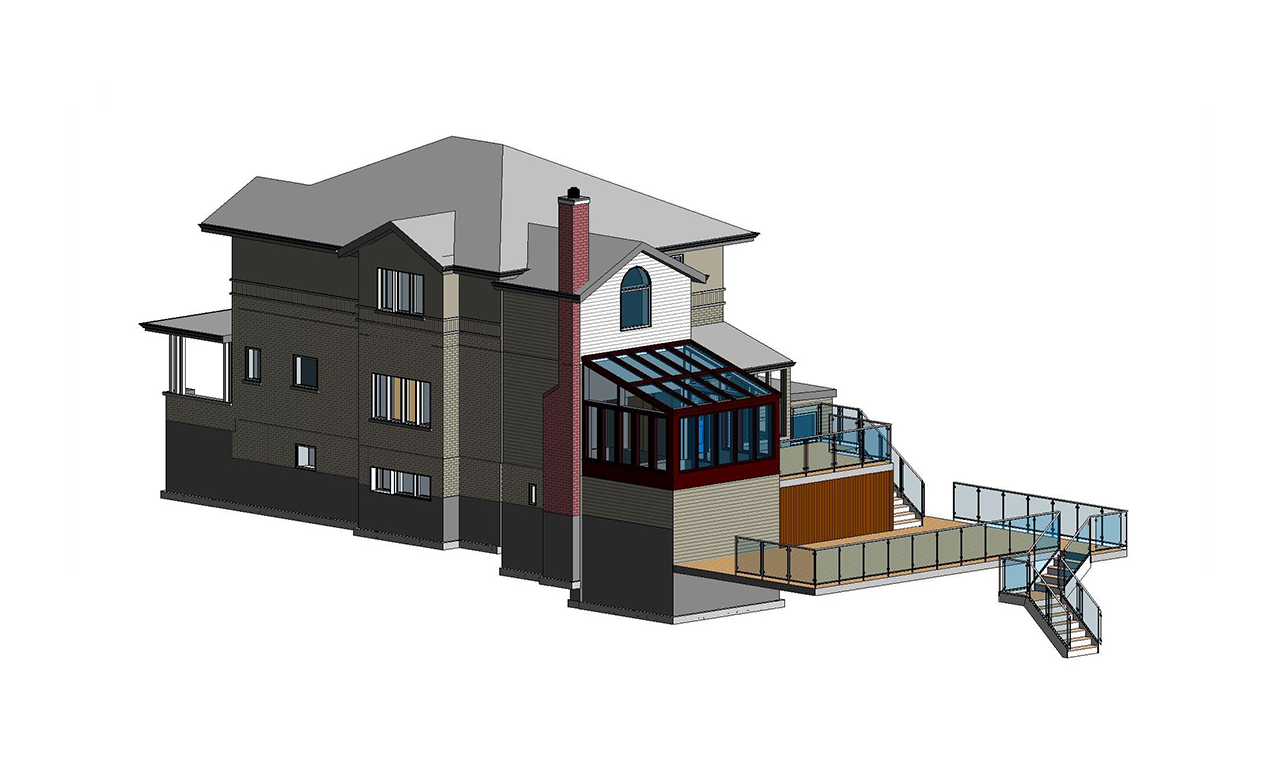 A 3D Scan to BIM elevation model of a three level residential house.