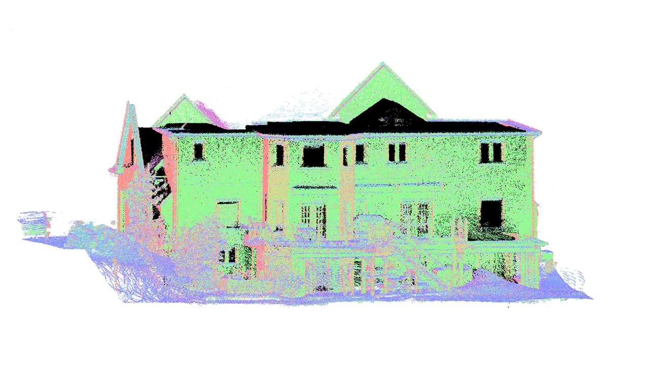 a point cloud 3D model of the front view of a two level residential house.