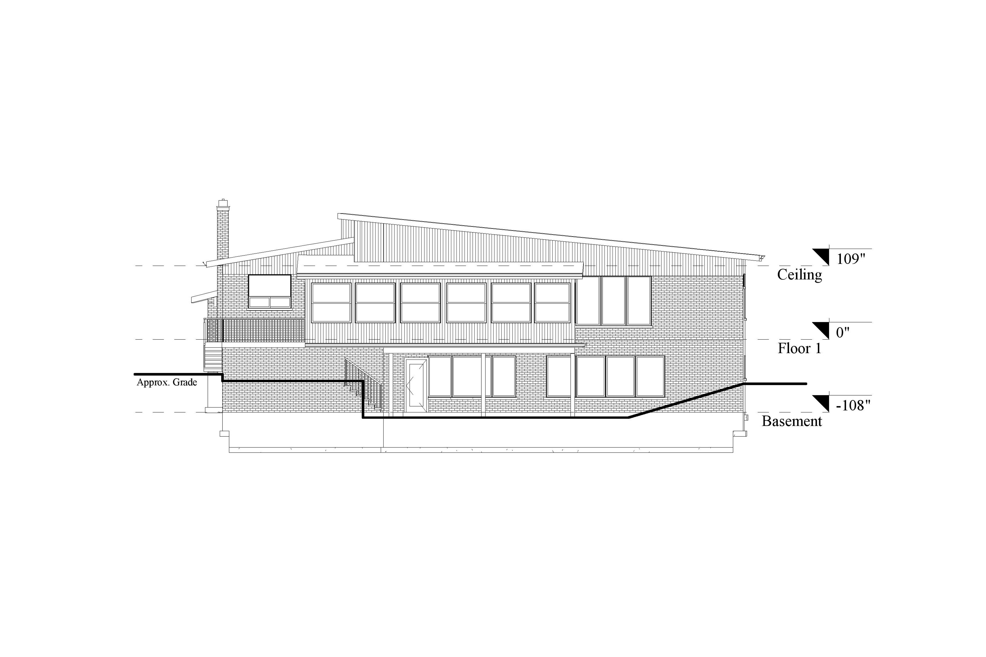 A 2D Scan to CAD elevation model of the front view of a single level residential house.