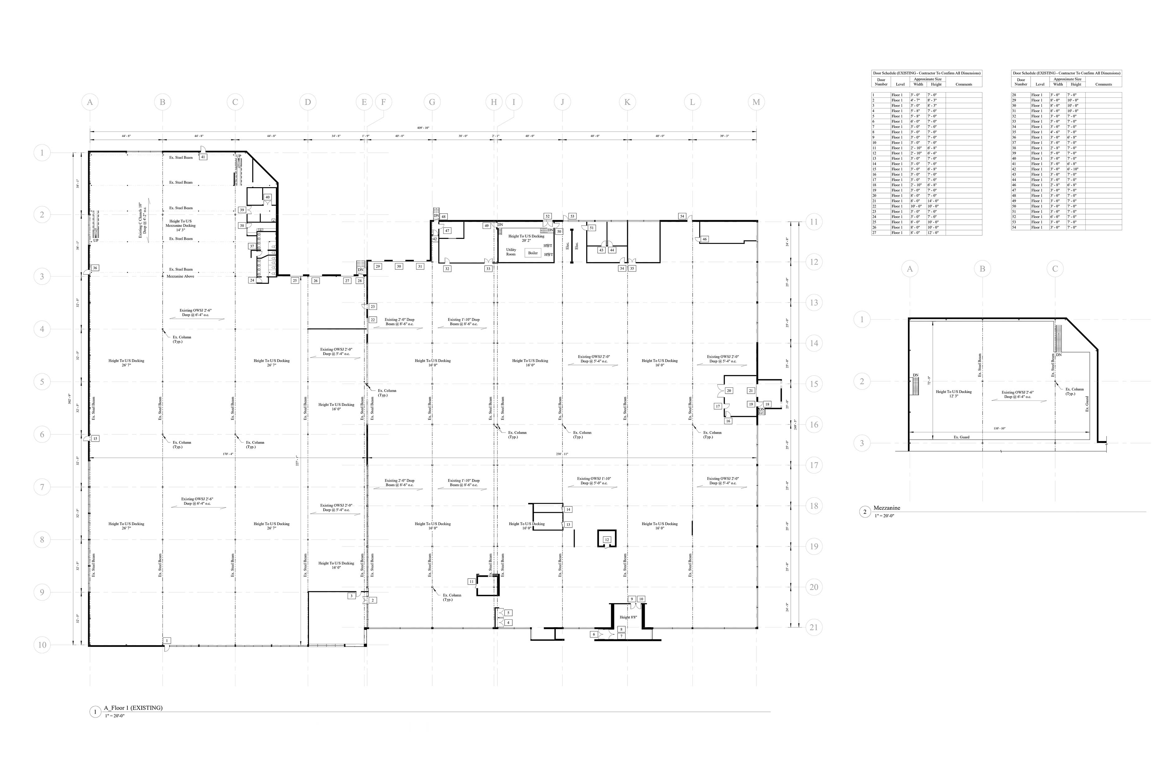 an AutoCad drawing of the existing floor plan and supporting data of the building.