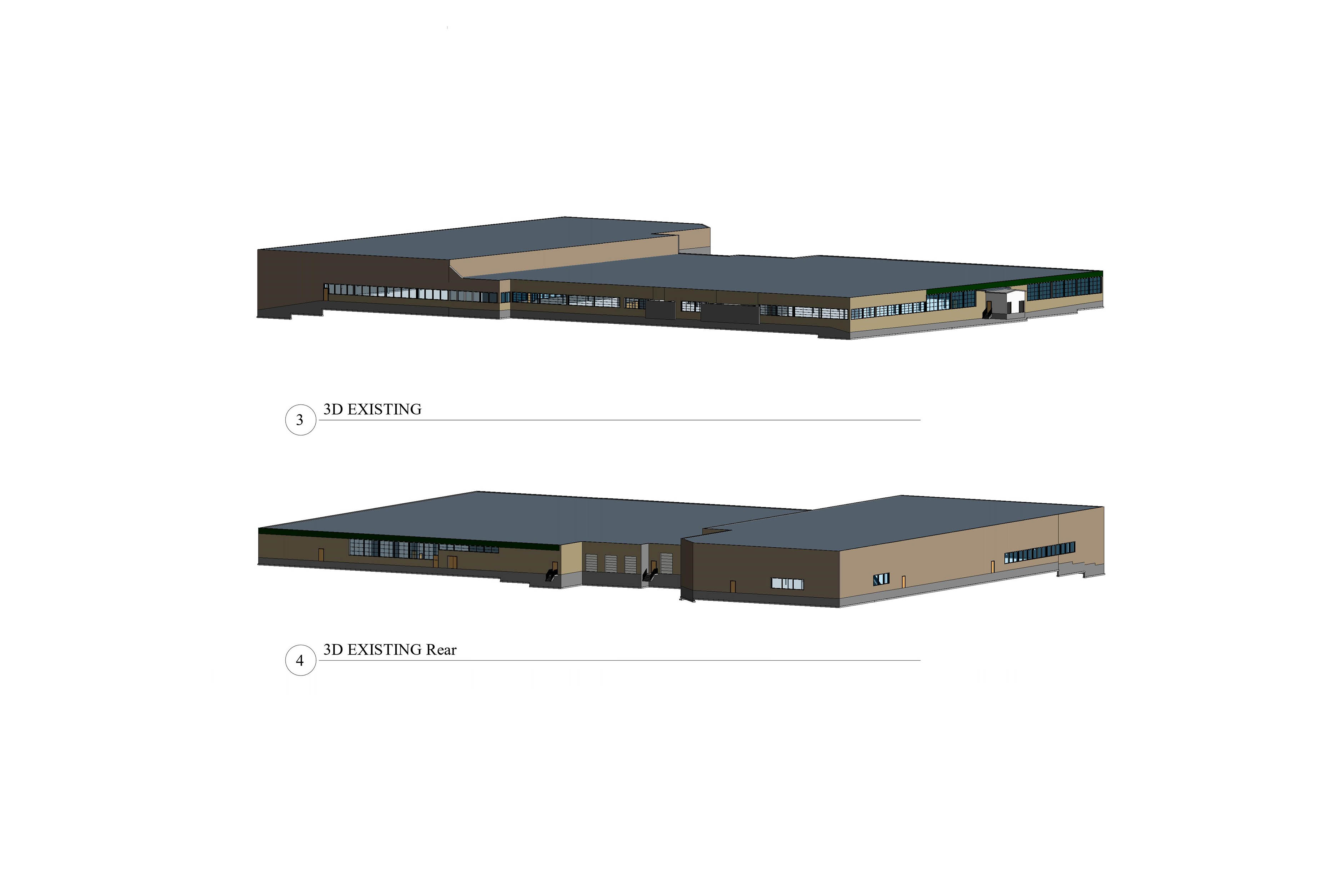 two 3D models of the front and rear end of the existing building.