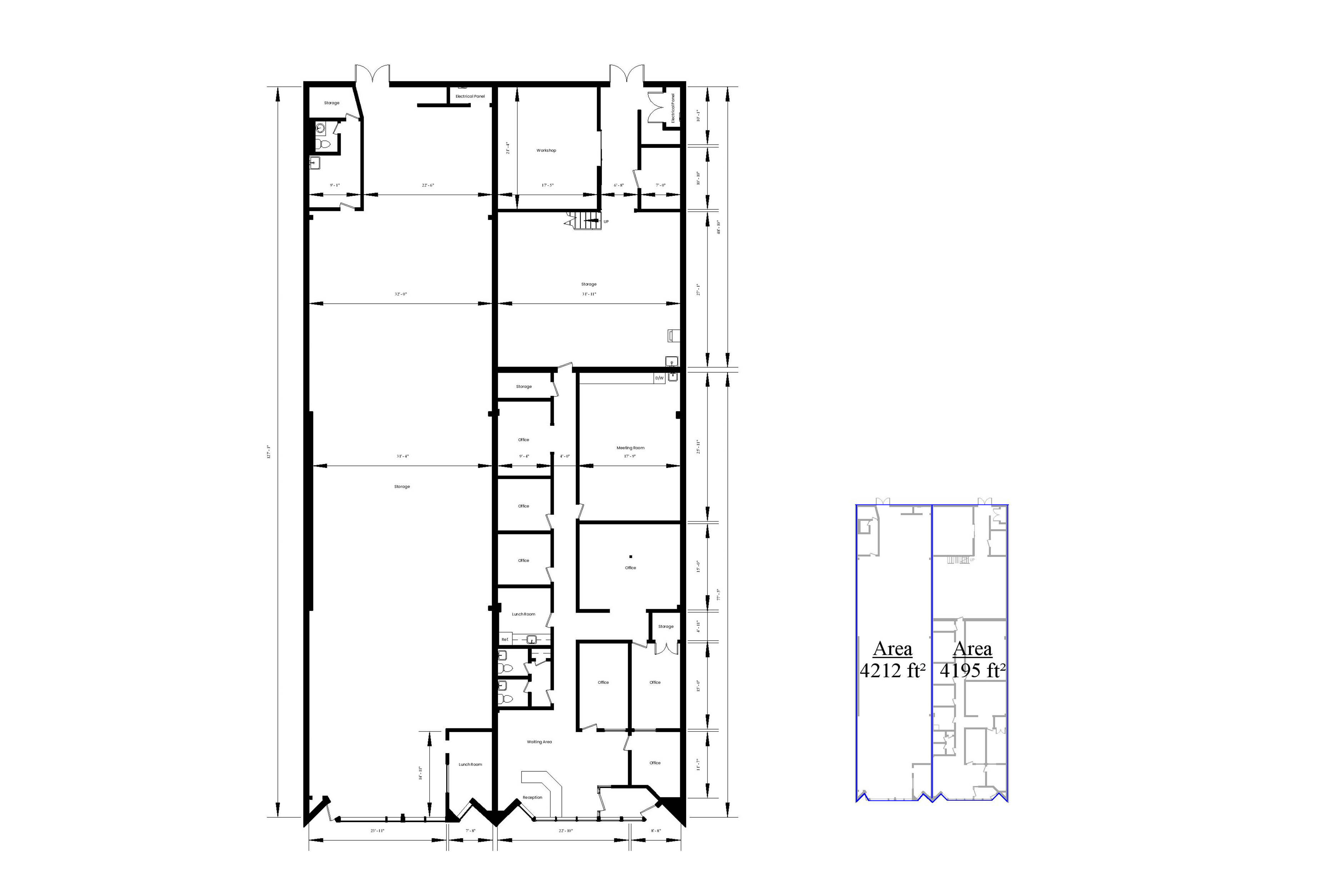 an AutoCad drawing of the floor plan and the Area Analysis plan for an eight thousand and four-hundred square foot industrial building.