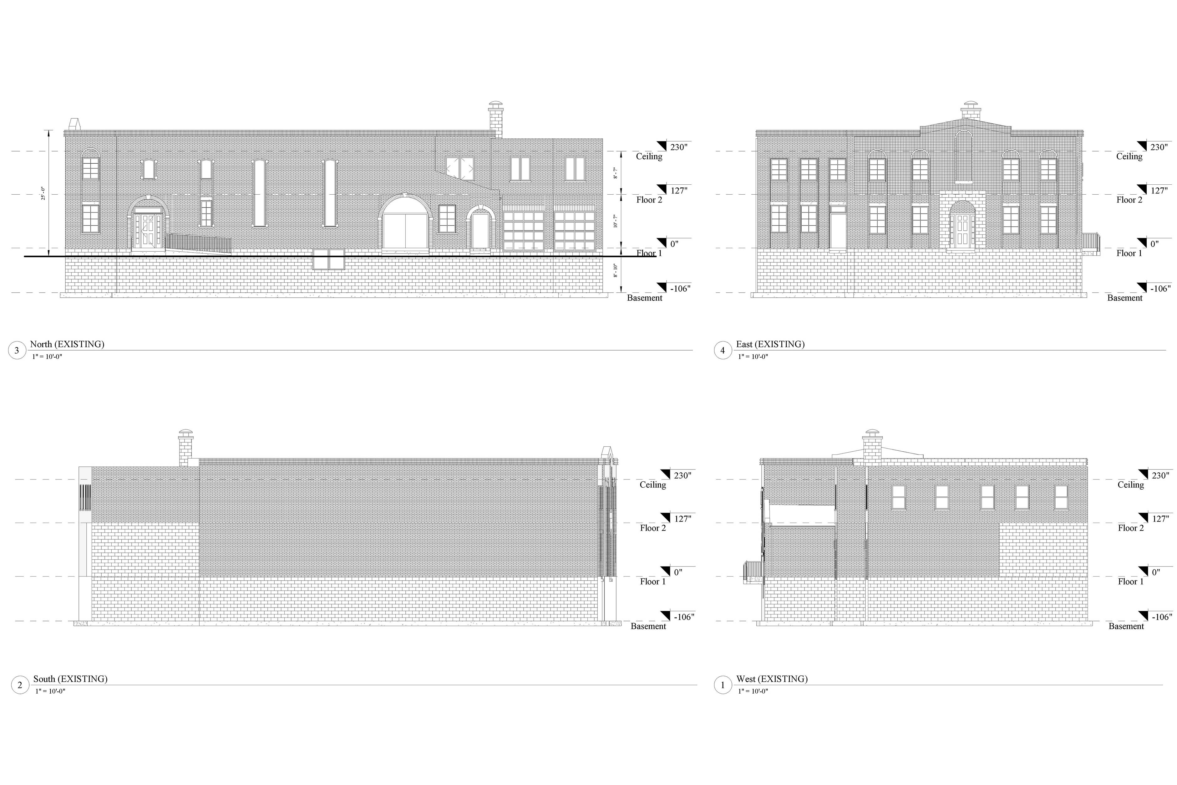 AutoCad drawings of 2D elevation models of the north, south, east, and west viewpoints of an industrial building.
