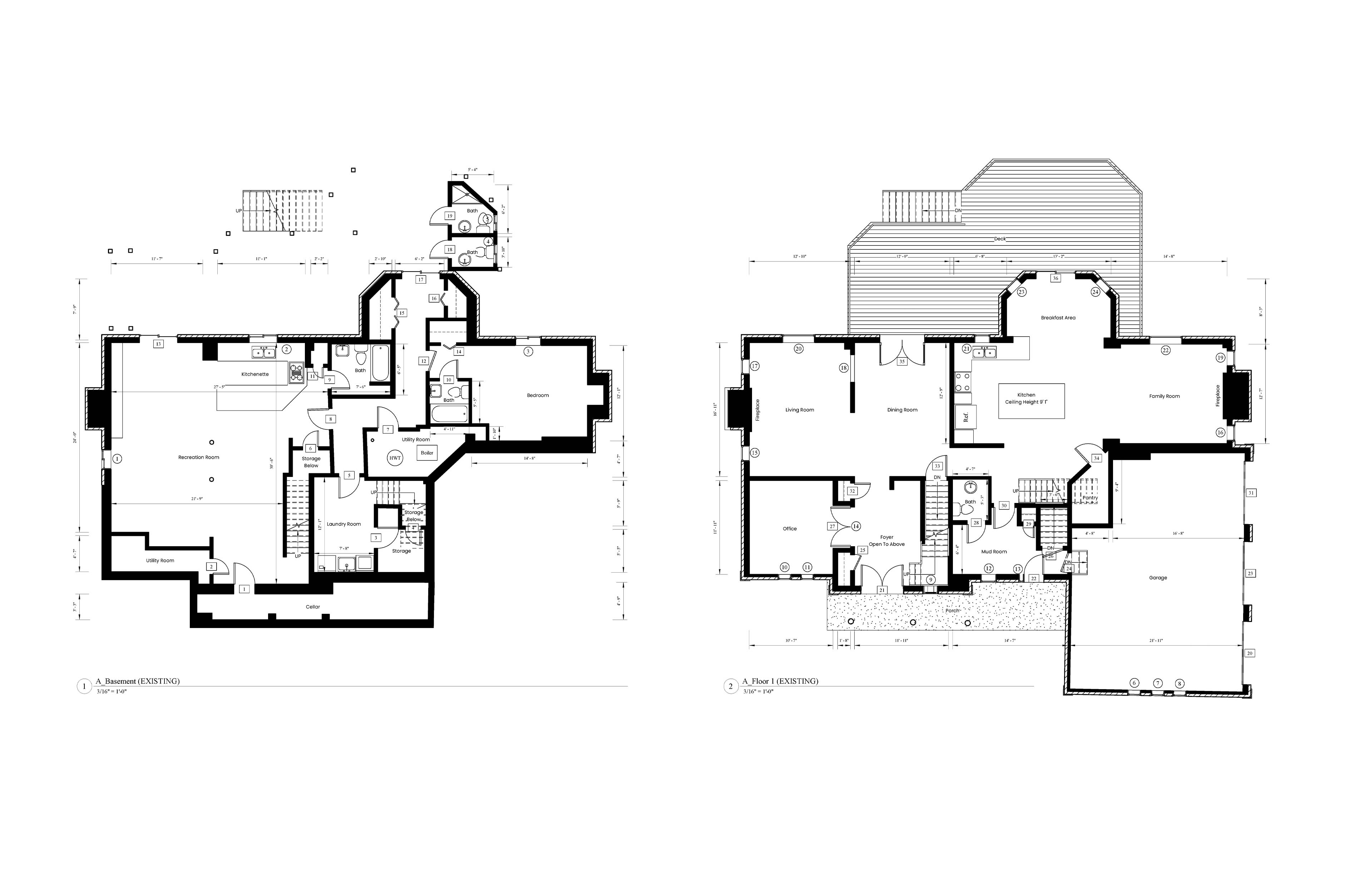 AutoCad drawings of the existing floor plans and data of the house.