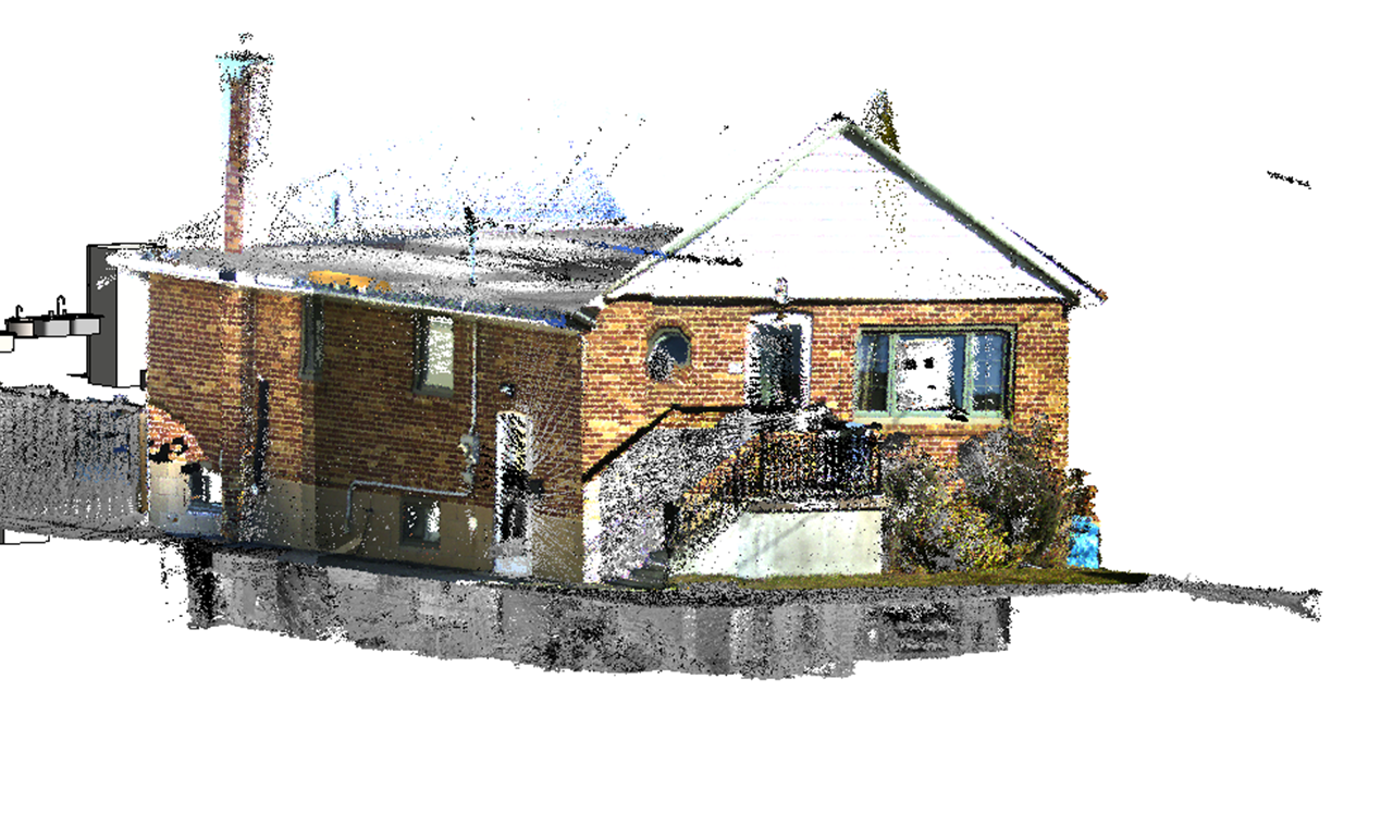 a point cloud 3D model of a residential house.