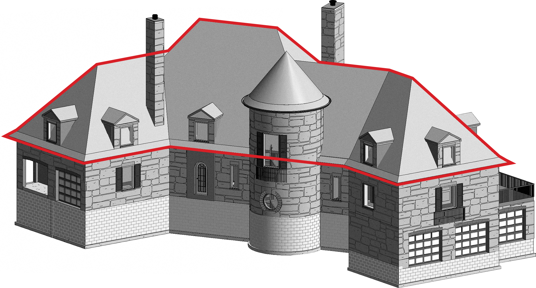 a 3D model of a residential home.