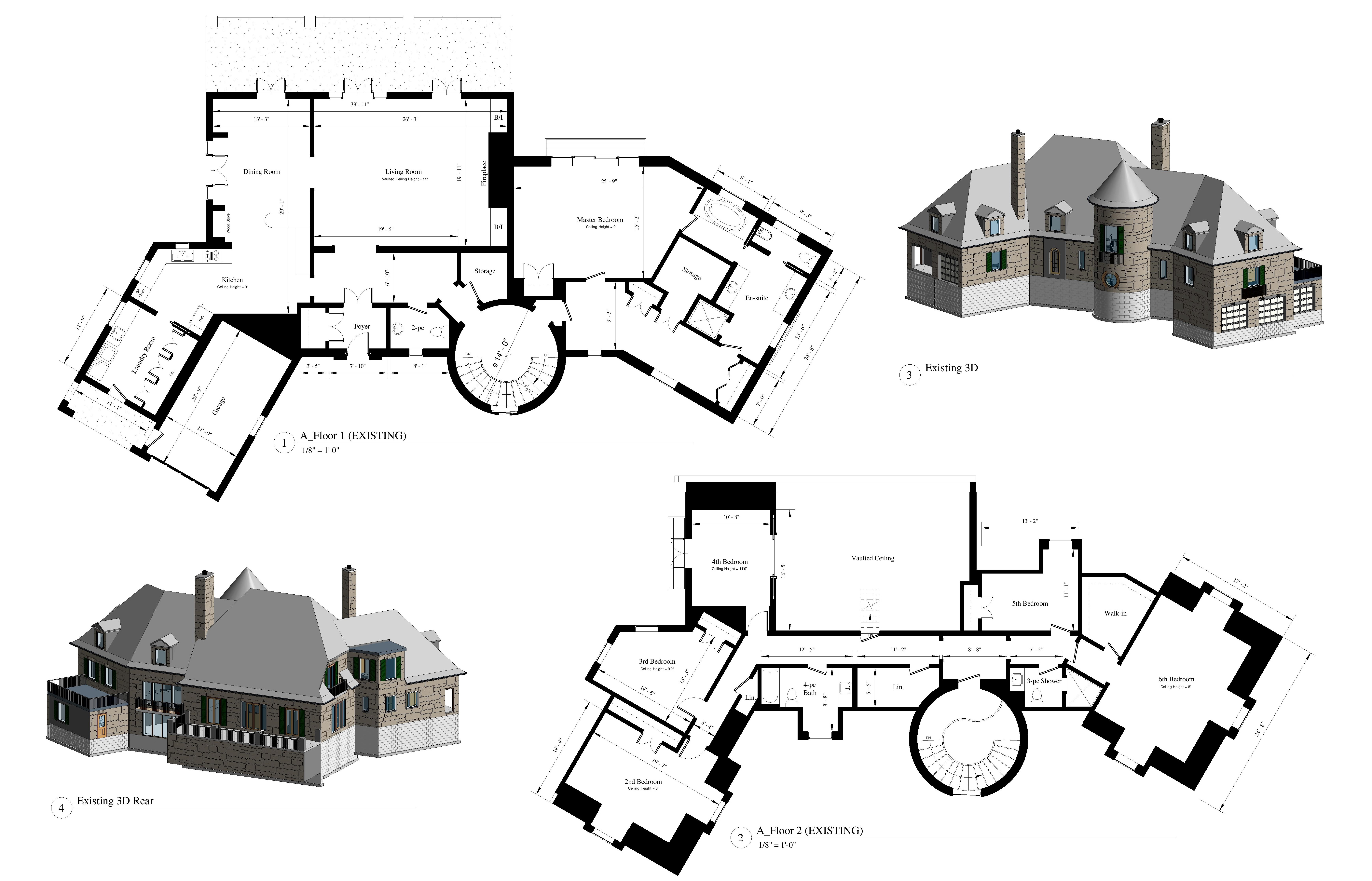 AutoCad drawings of an existing floor plan, two 3D model elevations of the front and rear view of a residential home with supporting data charts.