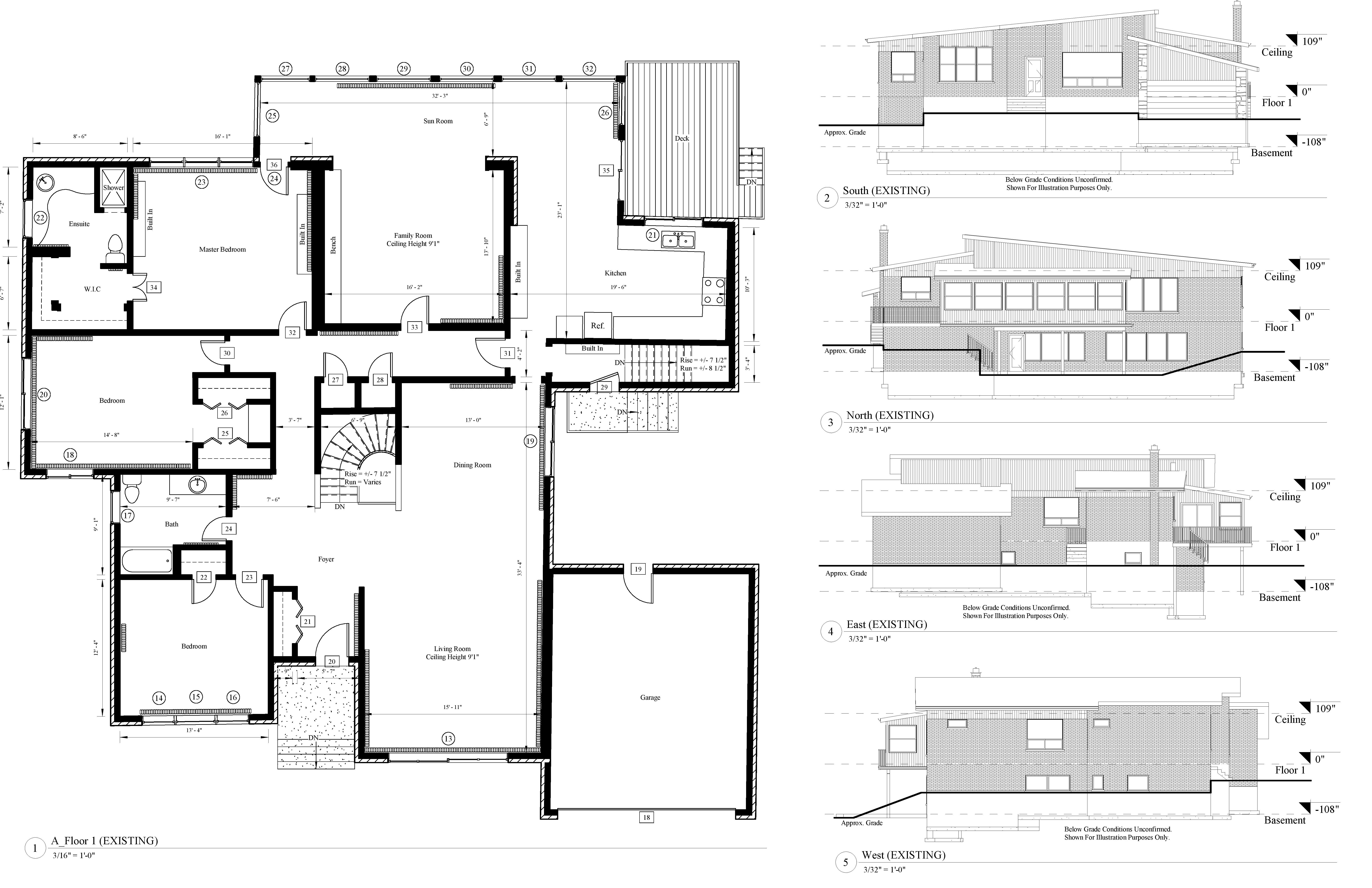 AutoCad drawing of an existing floor plan and 2D elevations of the north, south, east, and the west view points of a residential house.