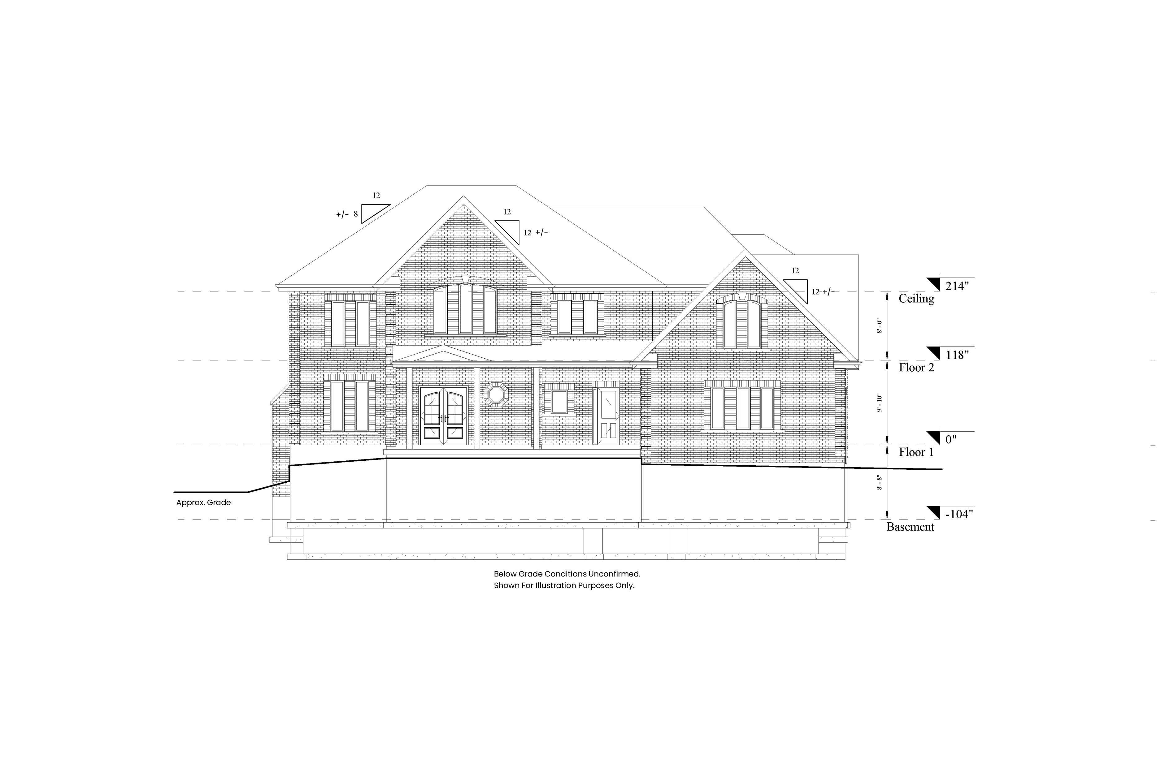 A 2D Scan to CAD elevation model of the front view of a two level residential house.