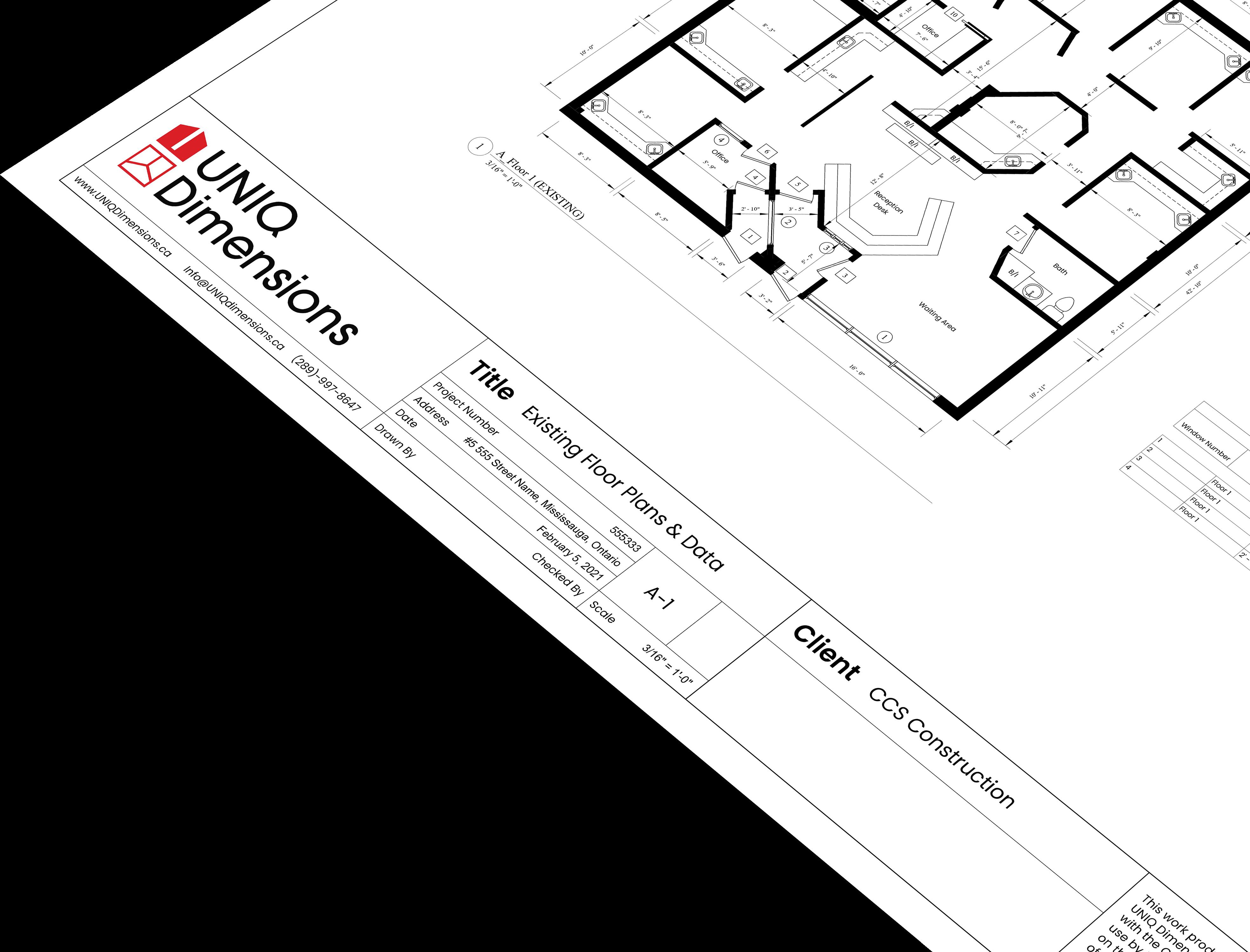 a close up of a UNIQ Dimensions floor plan print.
