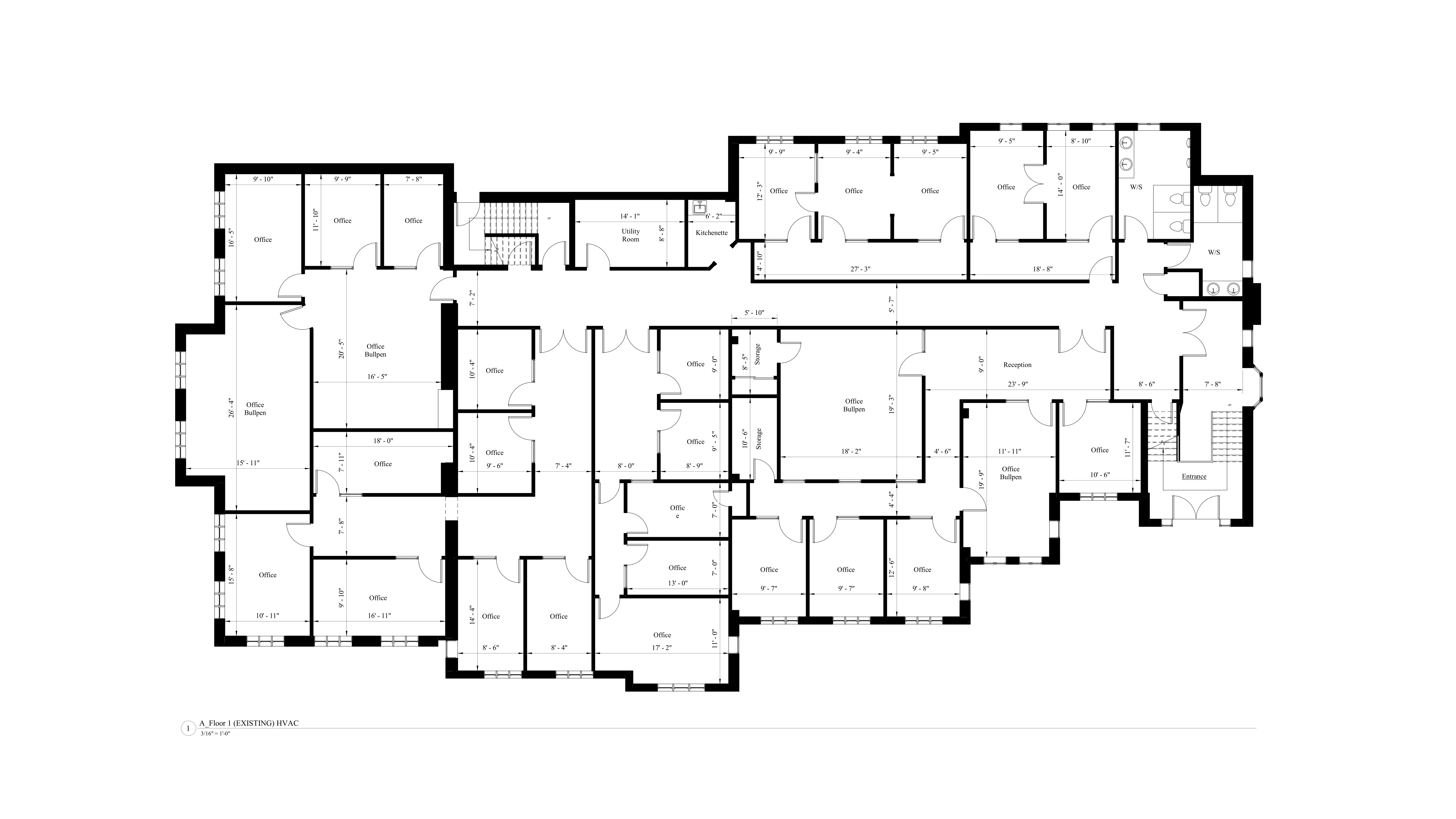 AutoCad drawing of the existing floor plan model for the first level of the commercial building.
