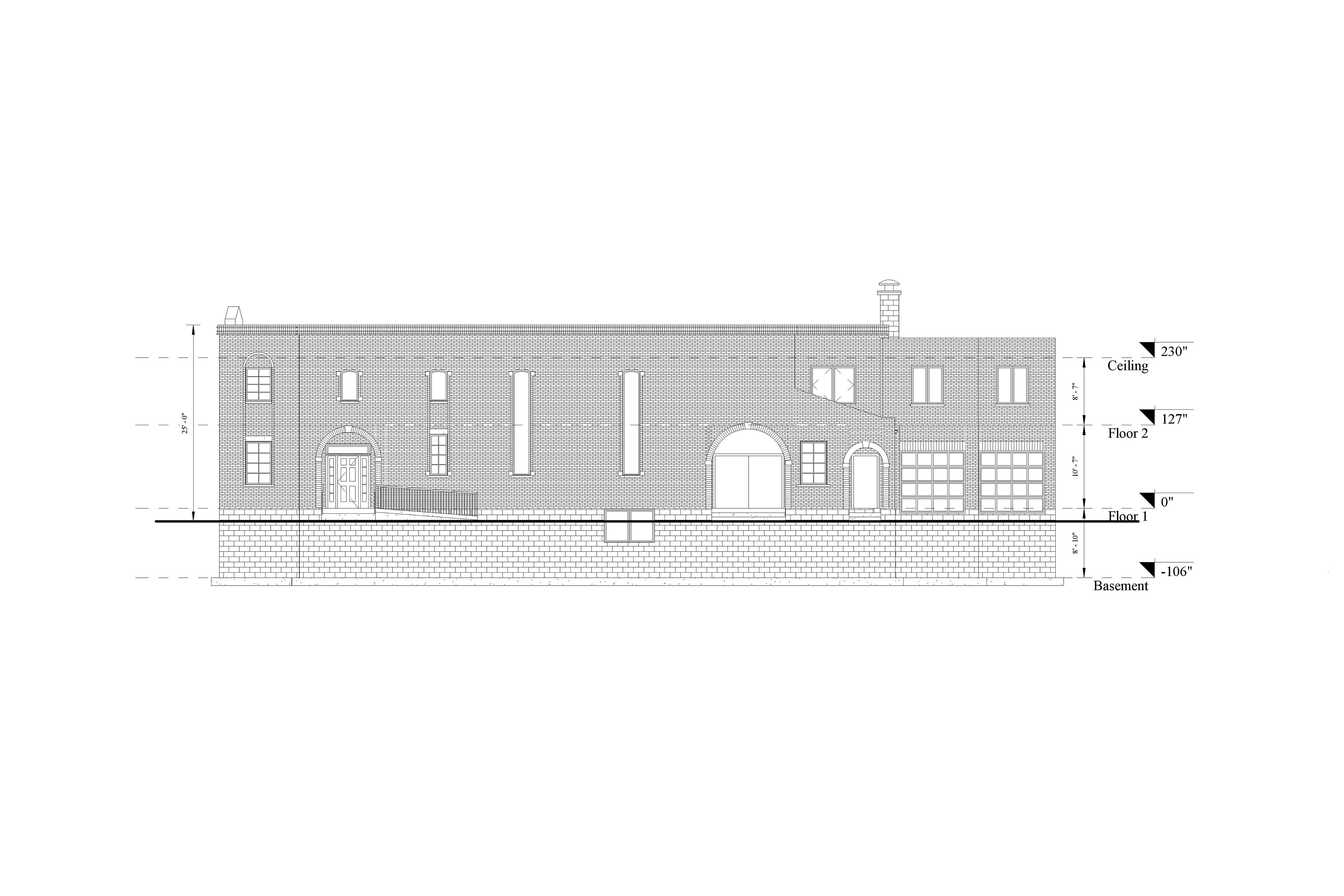 A 2D Scan to CAD elevation model of a two level industrial building.
