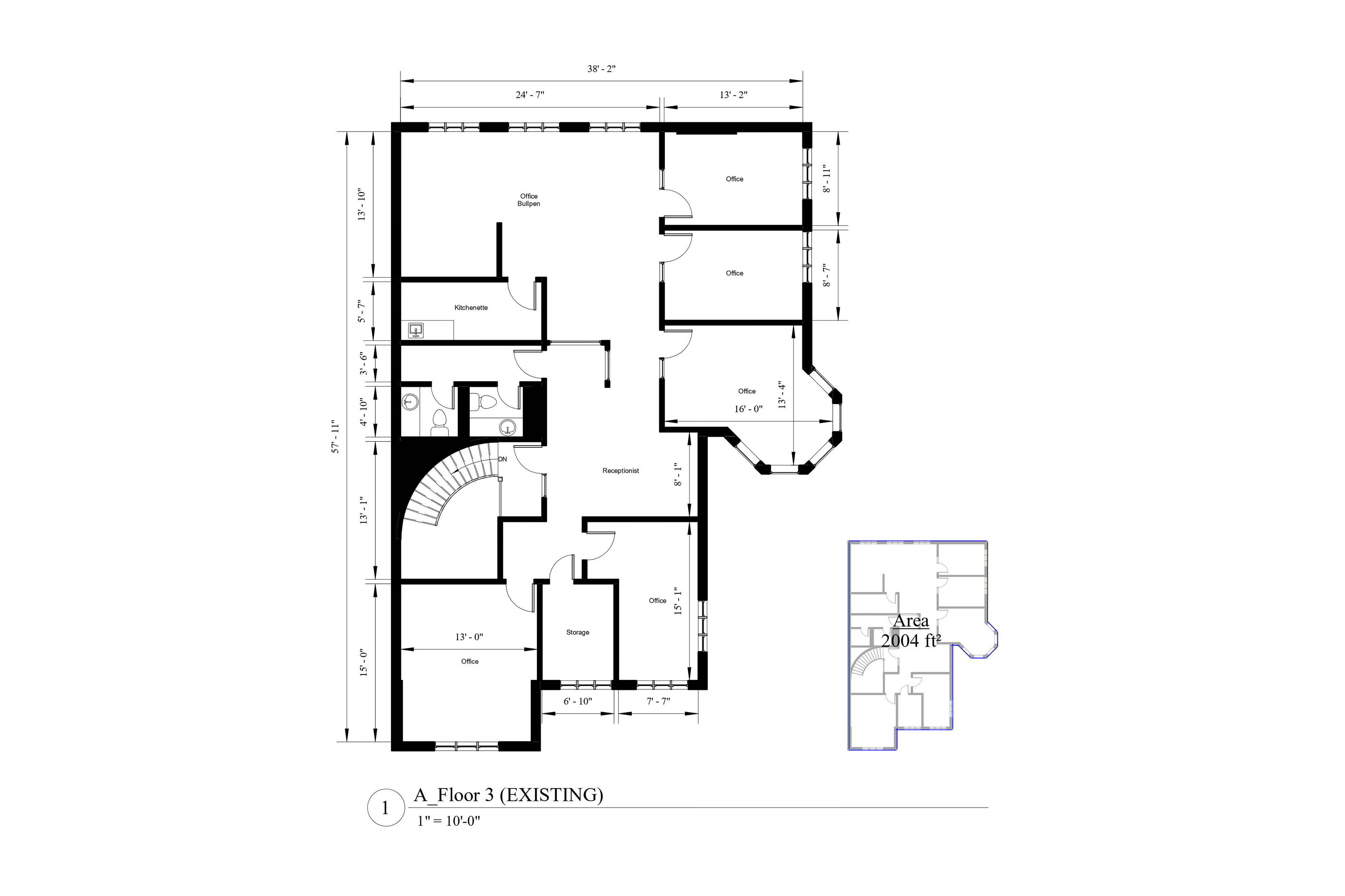 an AutoCad drawing of the floor plan and the Area Analysis plan for a two thousand and four square foot residential house.