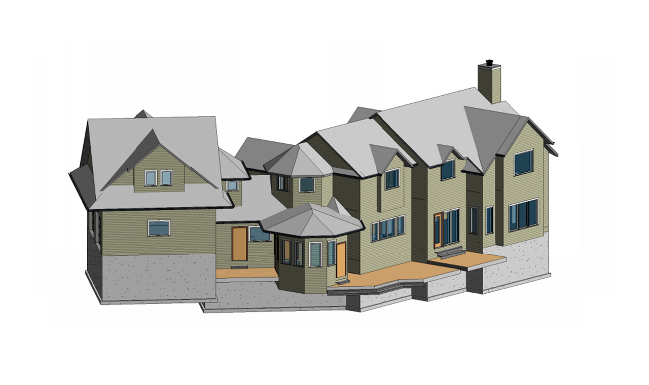 A 3D Scan to BIM elevation model of the rear view of a three level residential house.