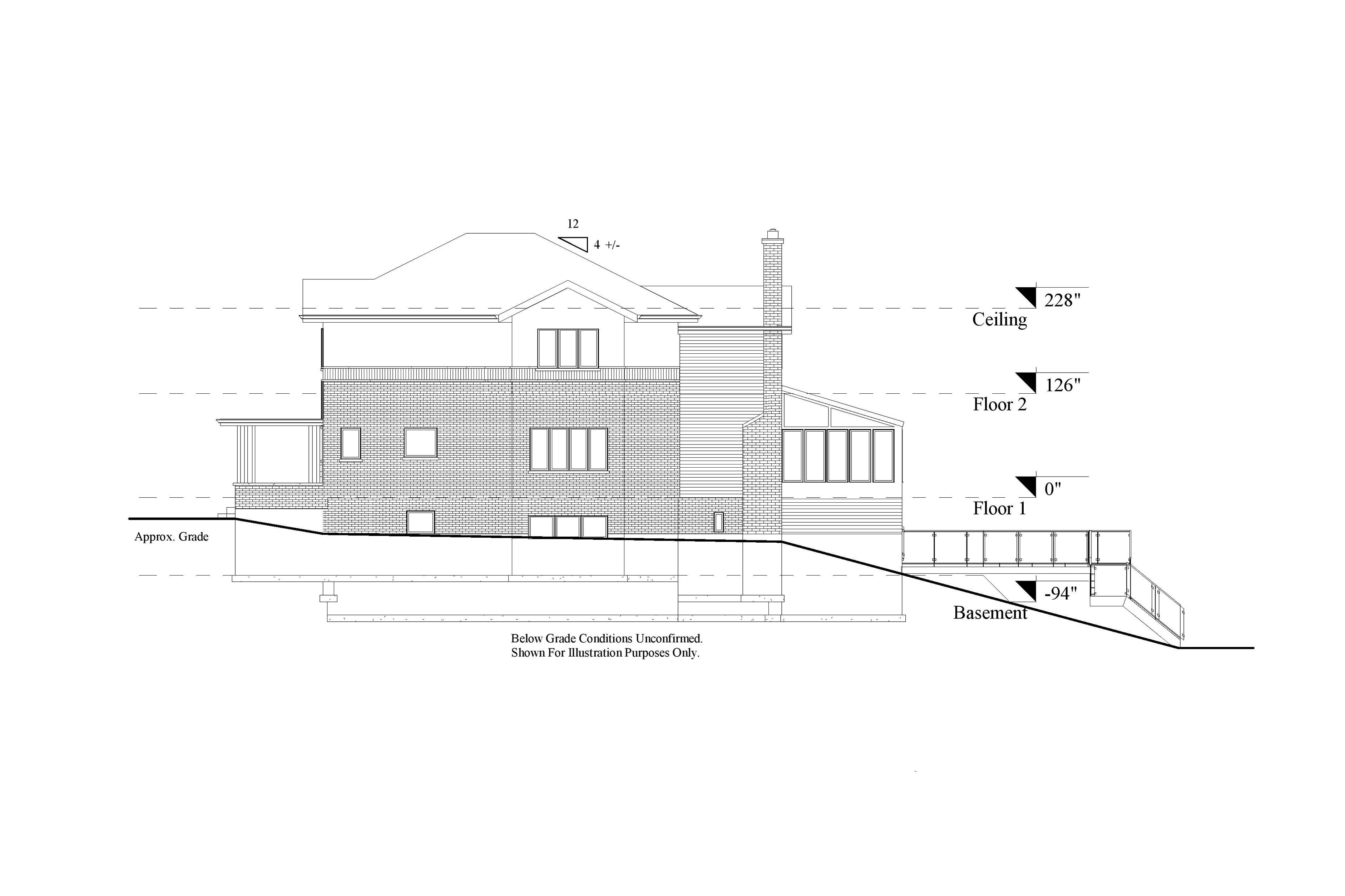 A 2D Scan to CAD elevation model of the side view of a two level residential house.