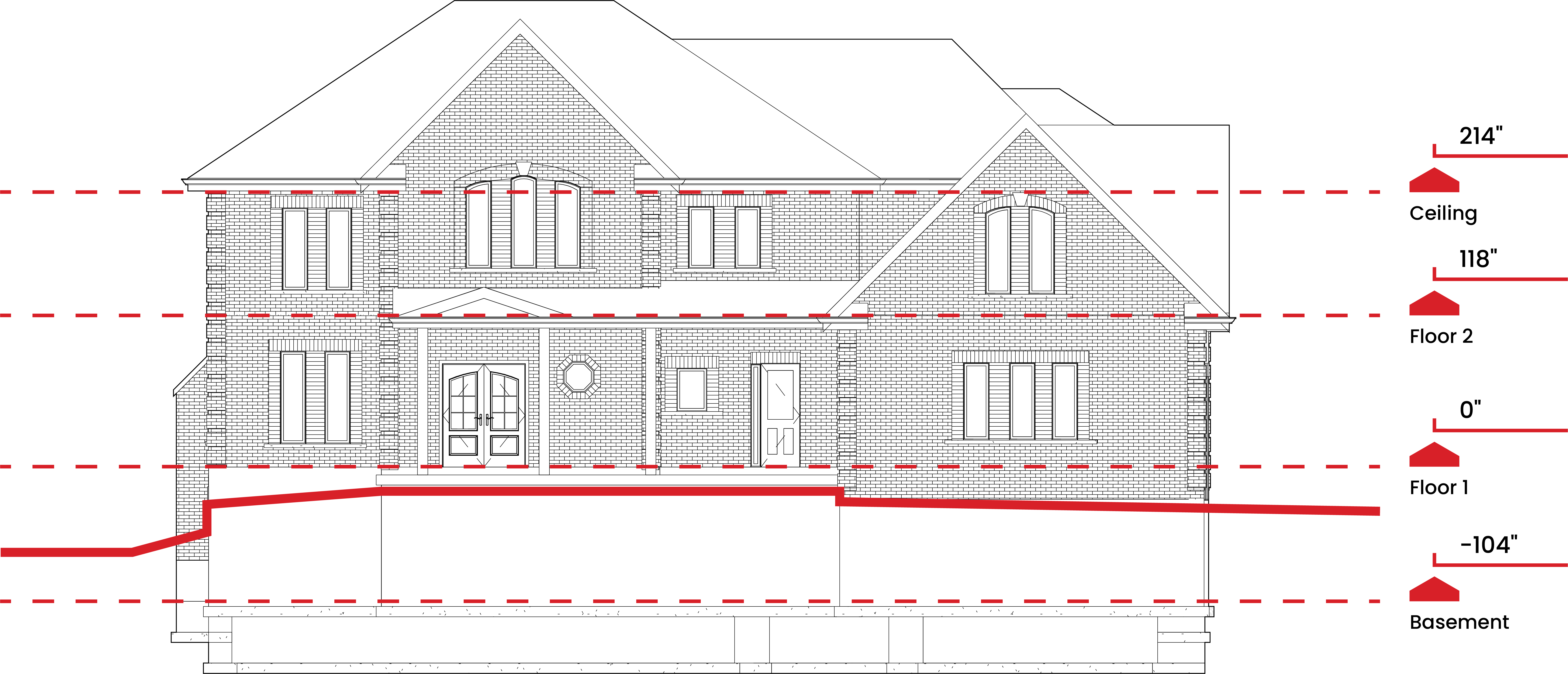 a 2D elevation of a residential home.