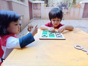 children playing games at home