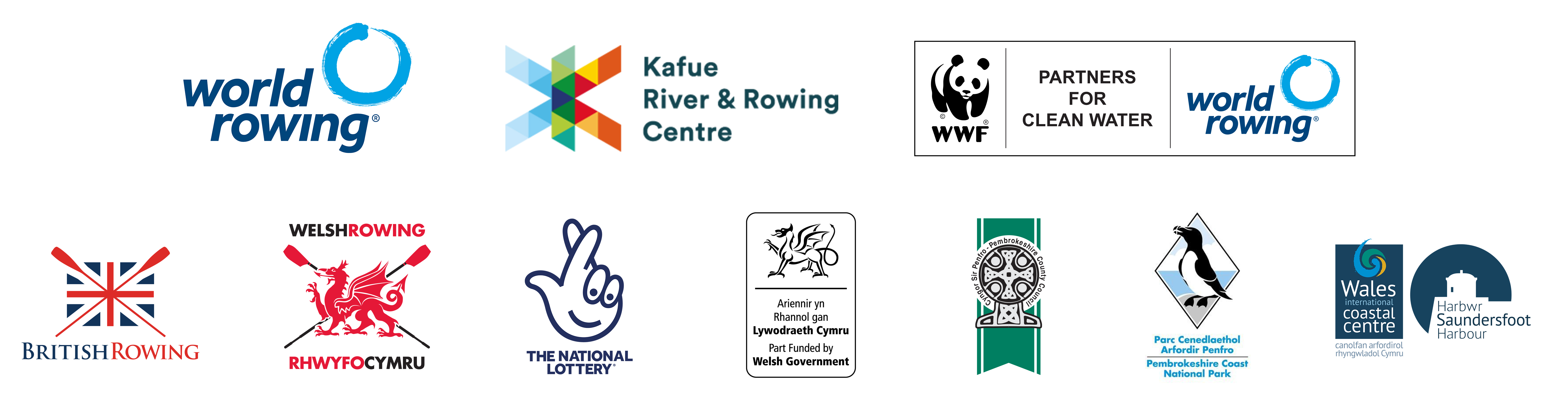 World Rowing | Kafue River & Rowing Centre | WWF | British Rowing | Welsh Rowing | National Lottery | Welsh Government | Pembrokeshire County Council | Pembrokeshire Coast National Park | Saundersfoot Harbour