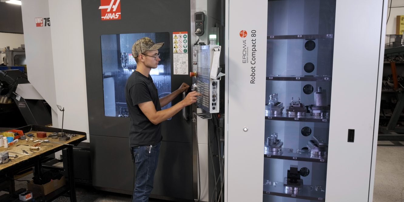 """See how the company uses its """"lights-out"""" machining with its Erowa Robot Compact 80 to get your jobs done."""