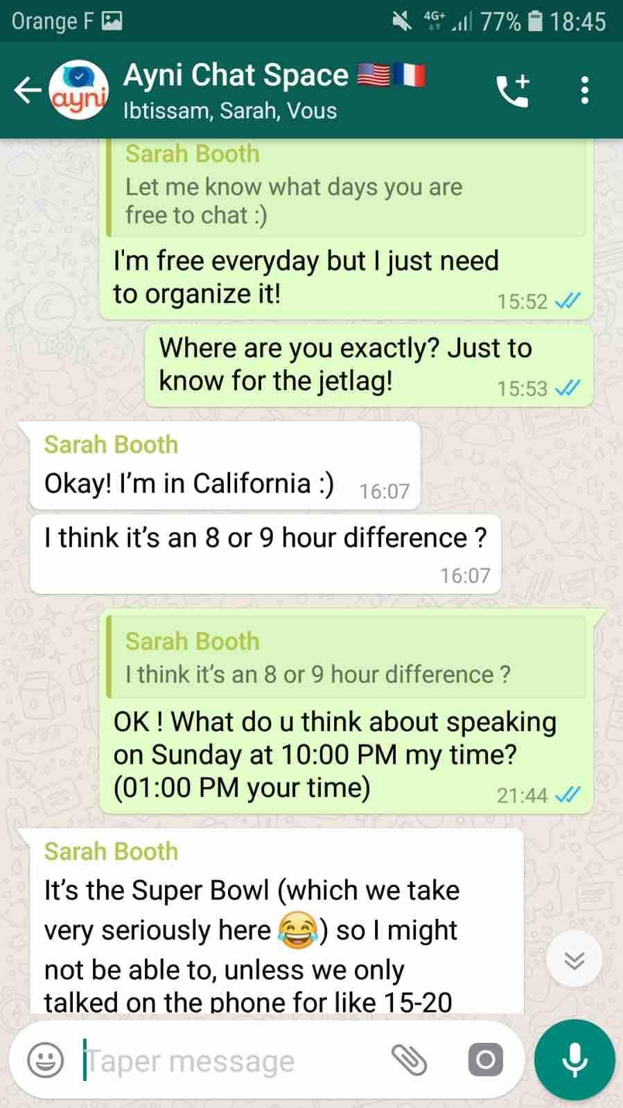 conversation whatsapp anglais