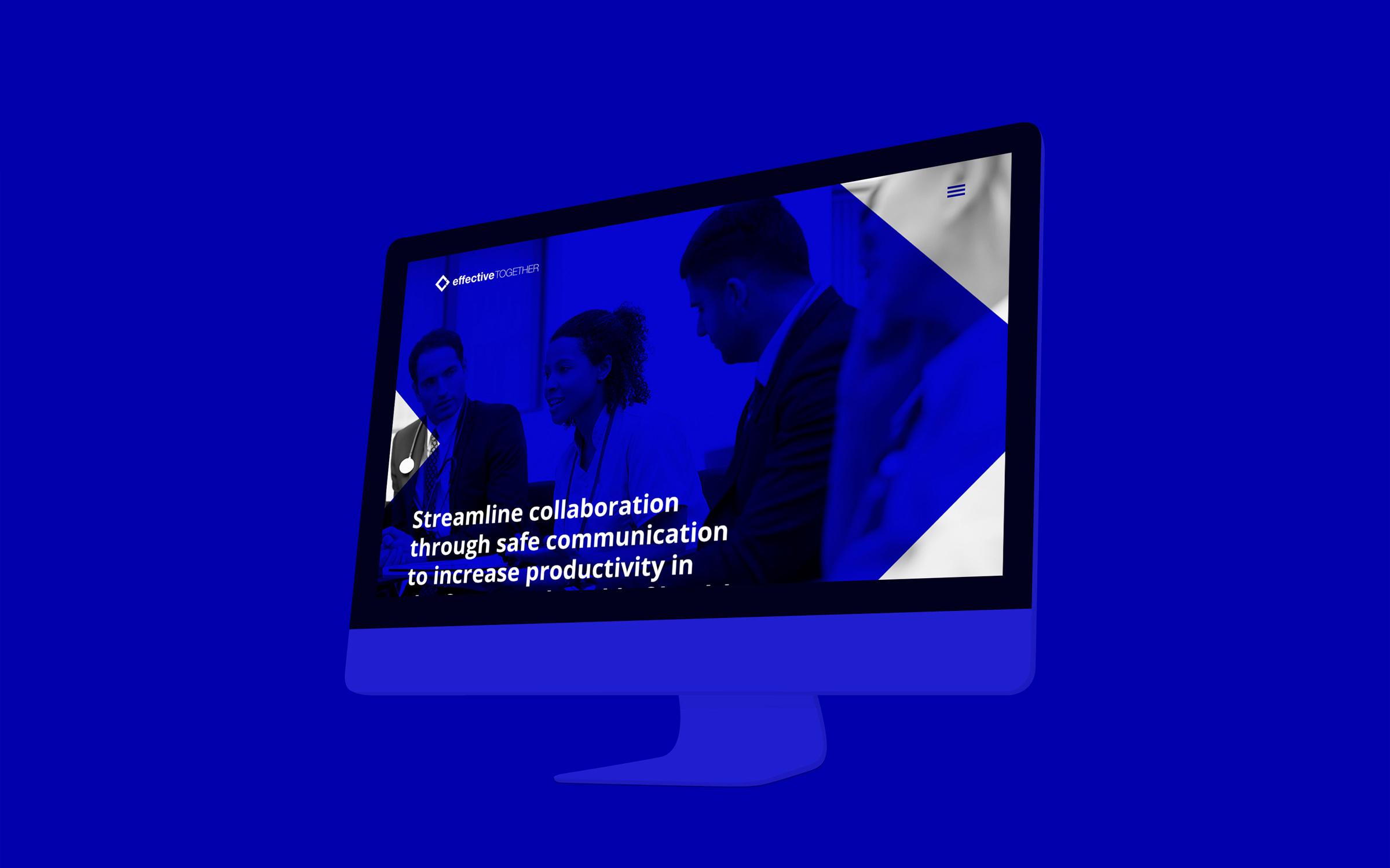 Blue image with website mockup on large computer