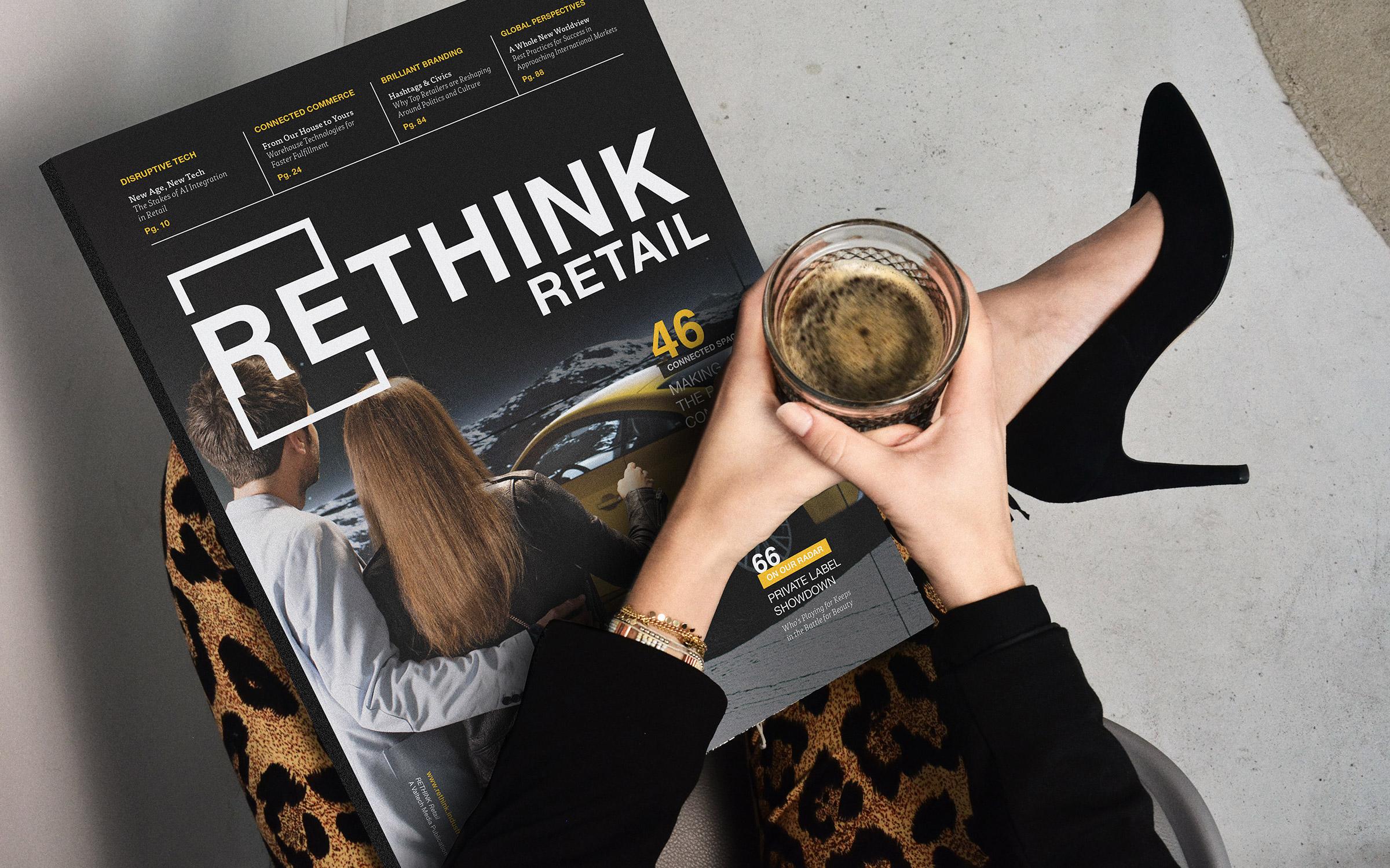 Elegant woman holding large magazine and espresso