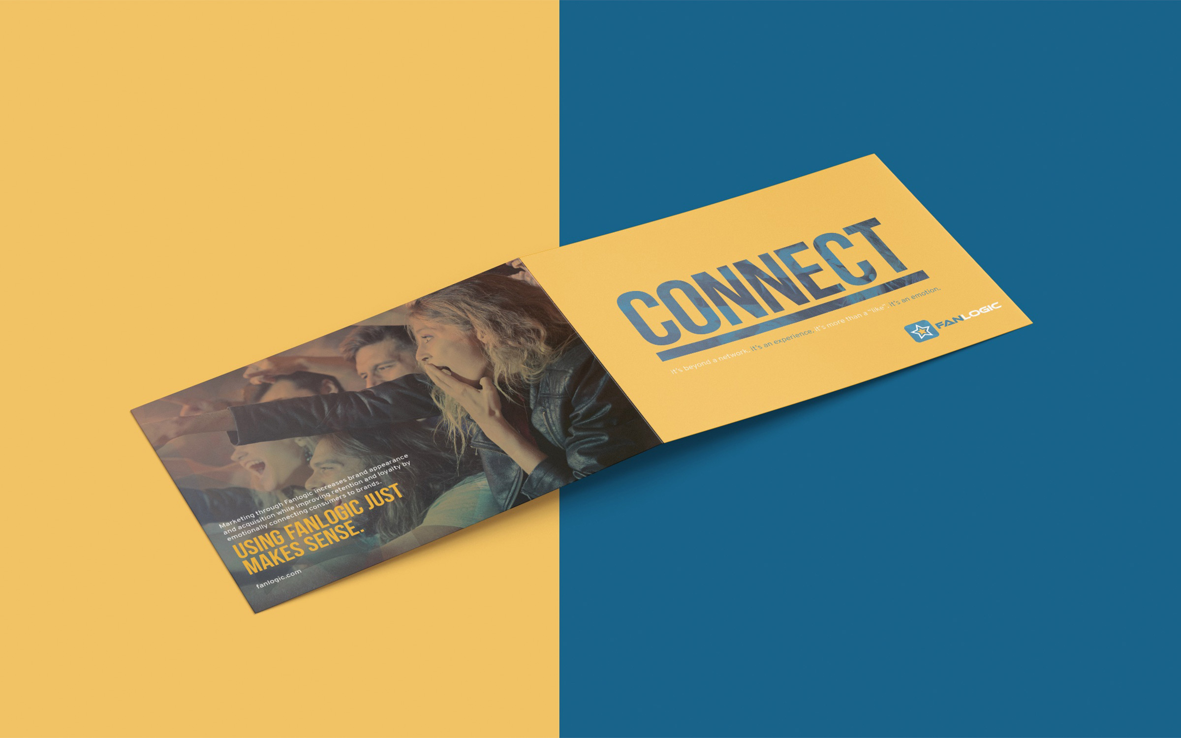Bi-fold brochure on yellow and blue background
