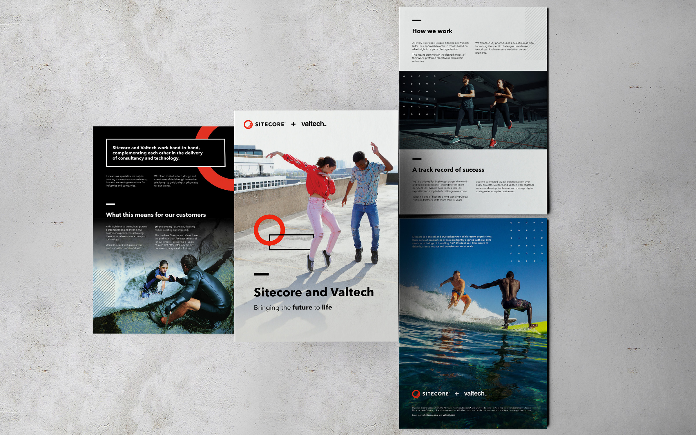 Brochure pages on concrete background