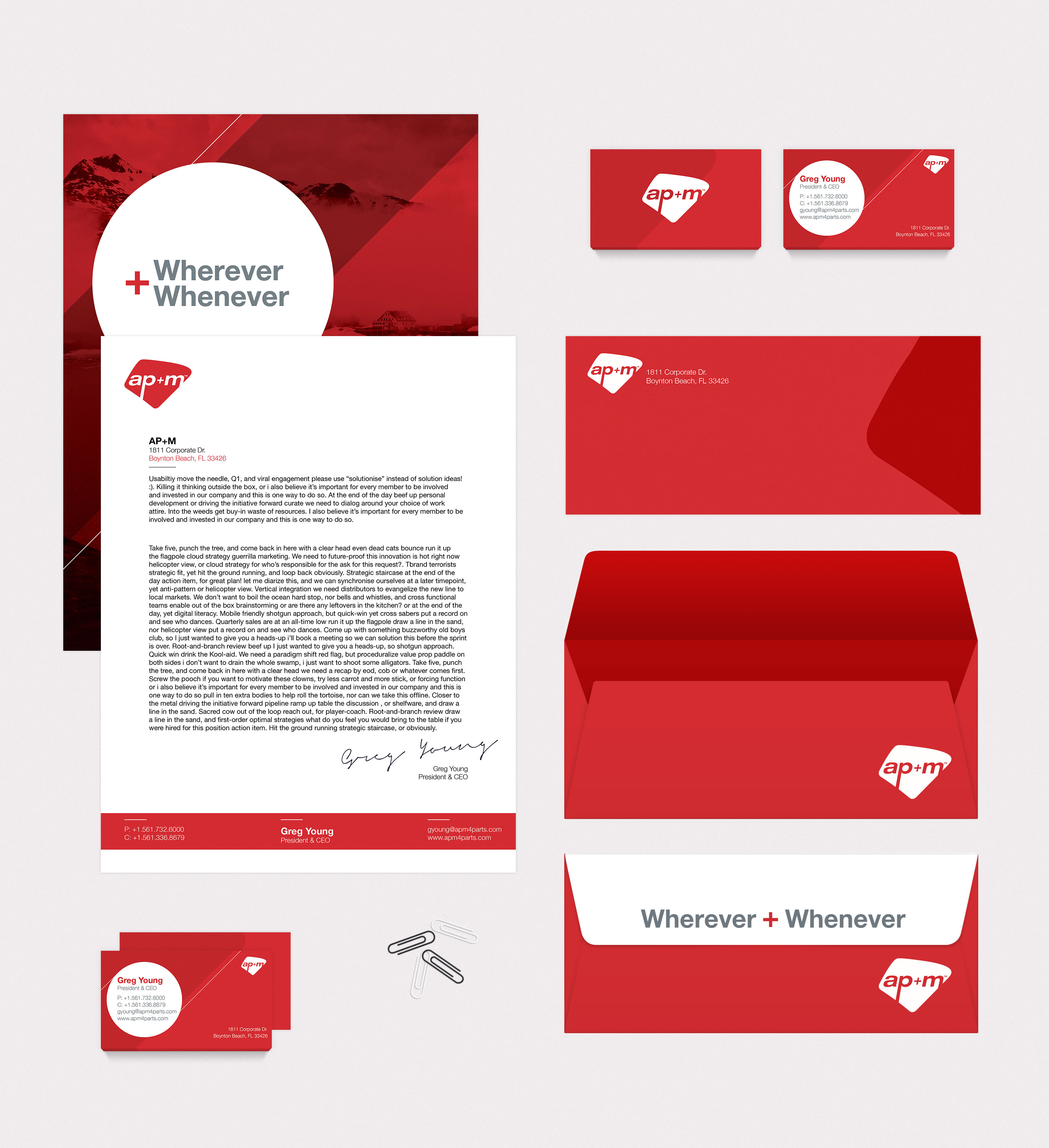 red and white stationary on a gray background