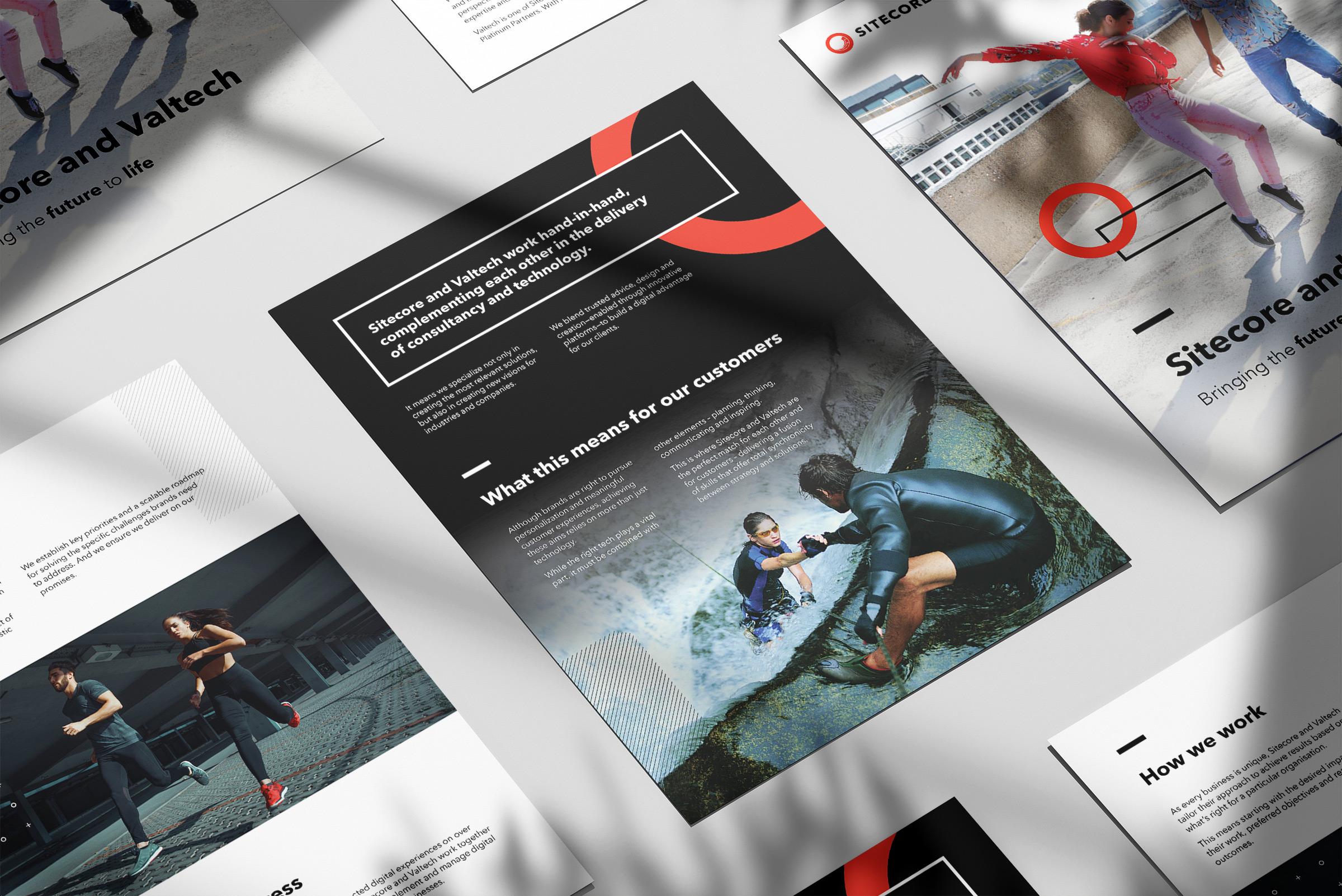 Multi-page brochure mockup on gray background