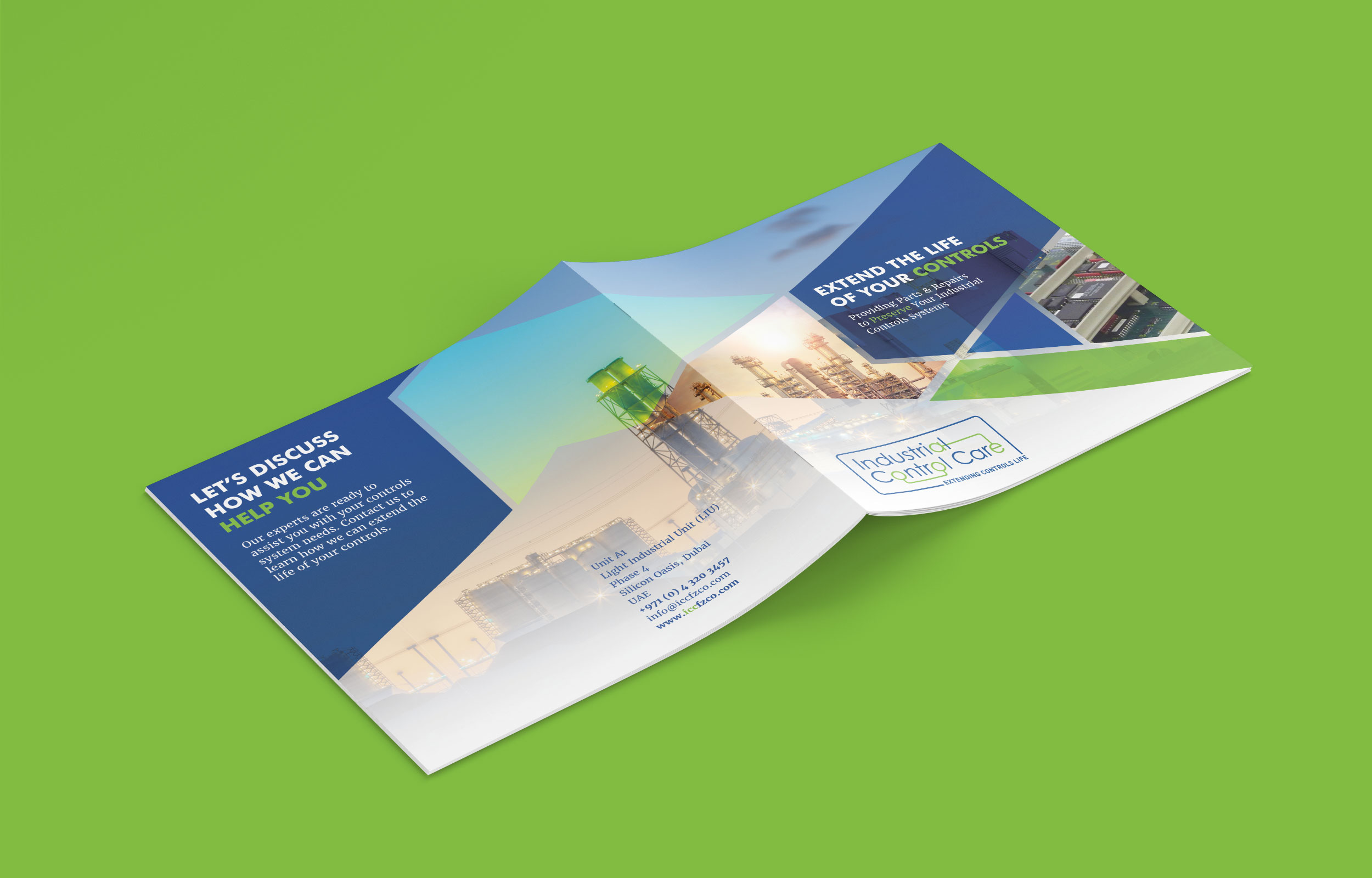 Open brochure on a green background