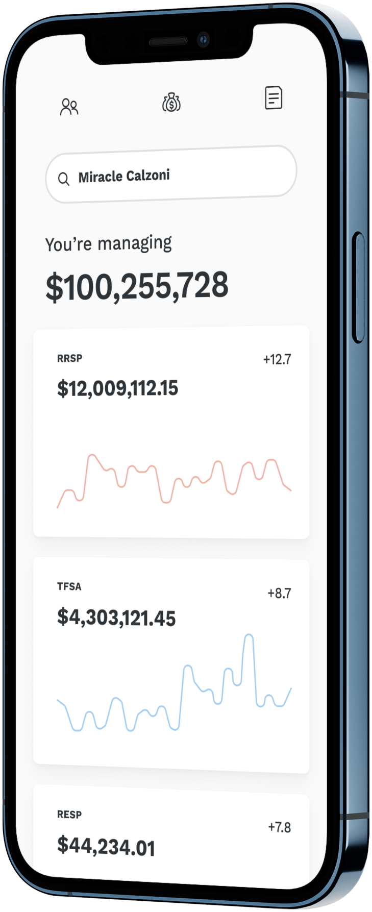 An iPhone with a user interface of a investment accounts