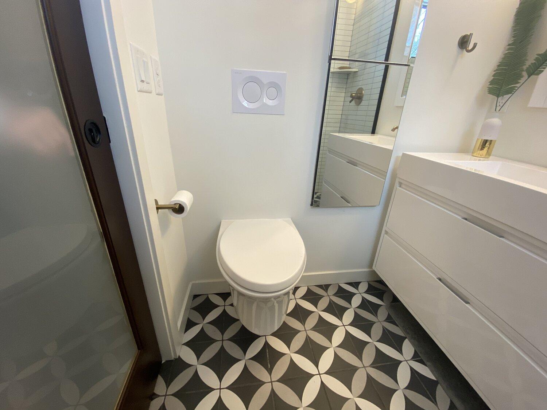 Pocket Door, Tankless Toilet, Full Length Mirror Medicine Cabinet - Space Saving Options
