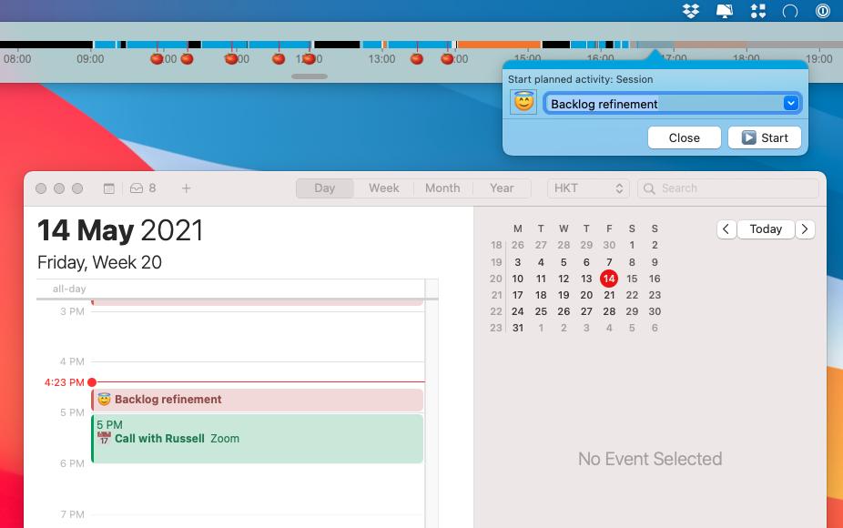 Lifeline's calendar integration