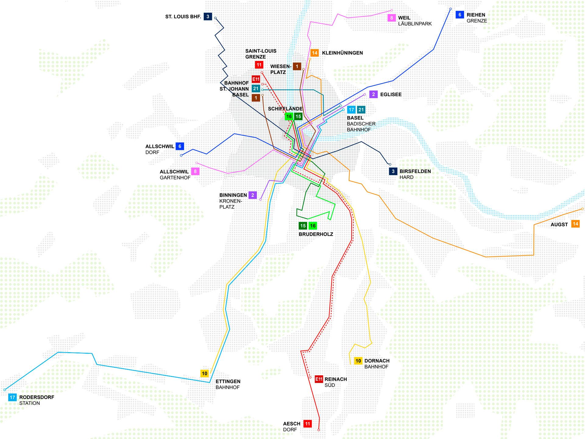 Übersicht der neuen Linienführungen
