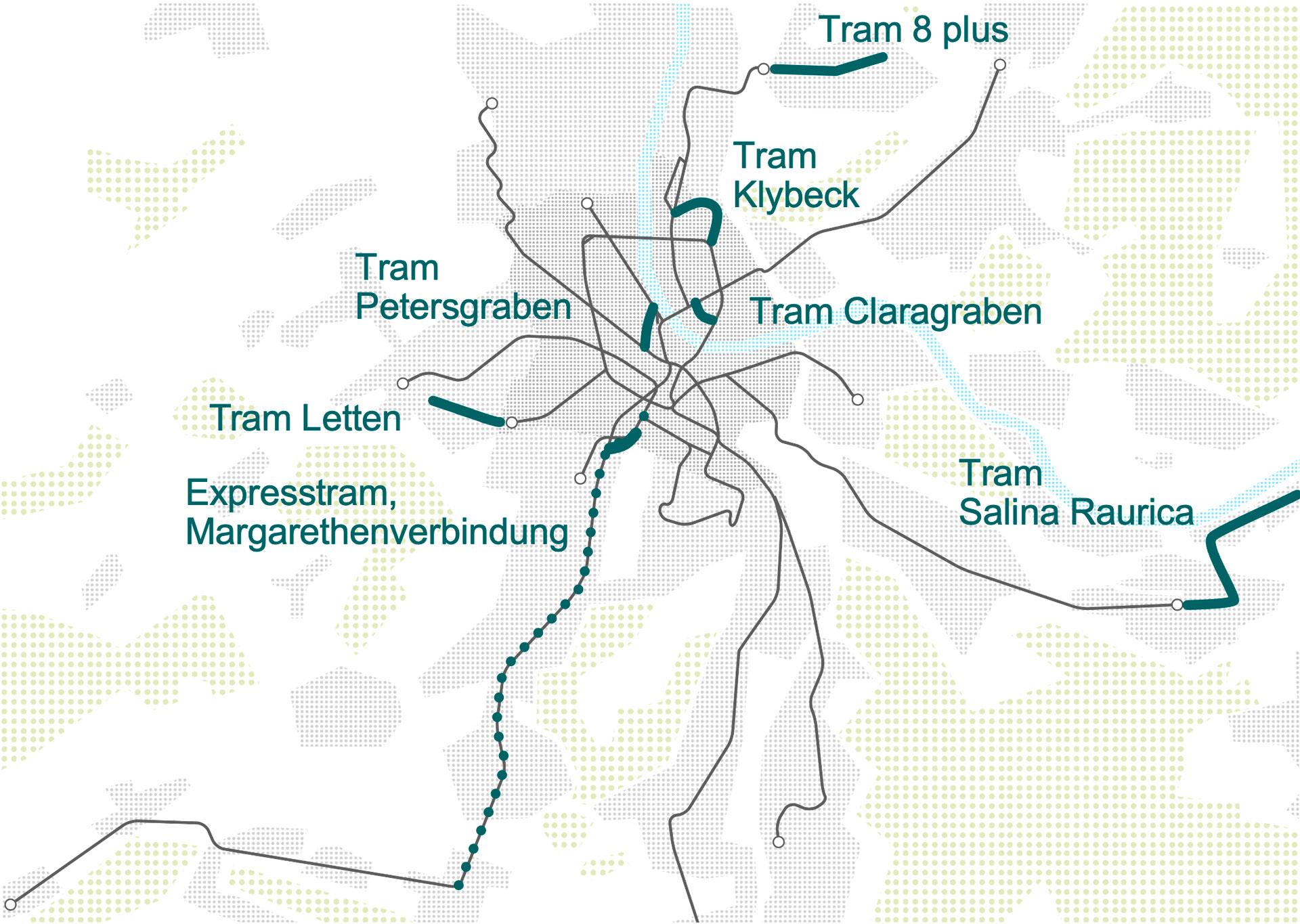 Übersicht aller neuen Tramstrecken