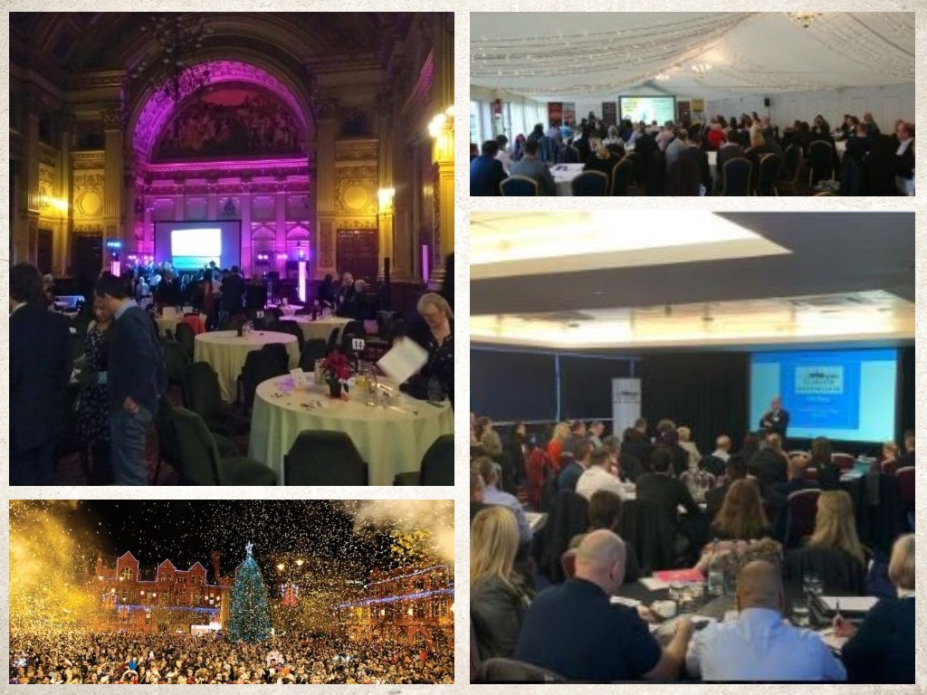 Three indoor corporate events and an outdoor Christmas event